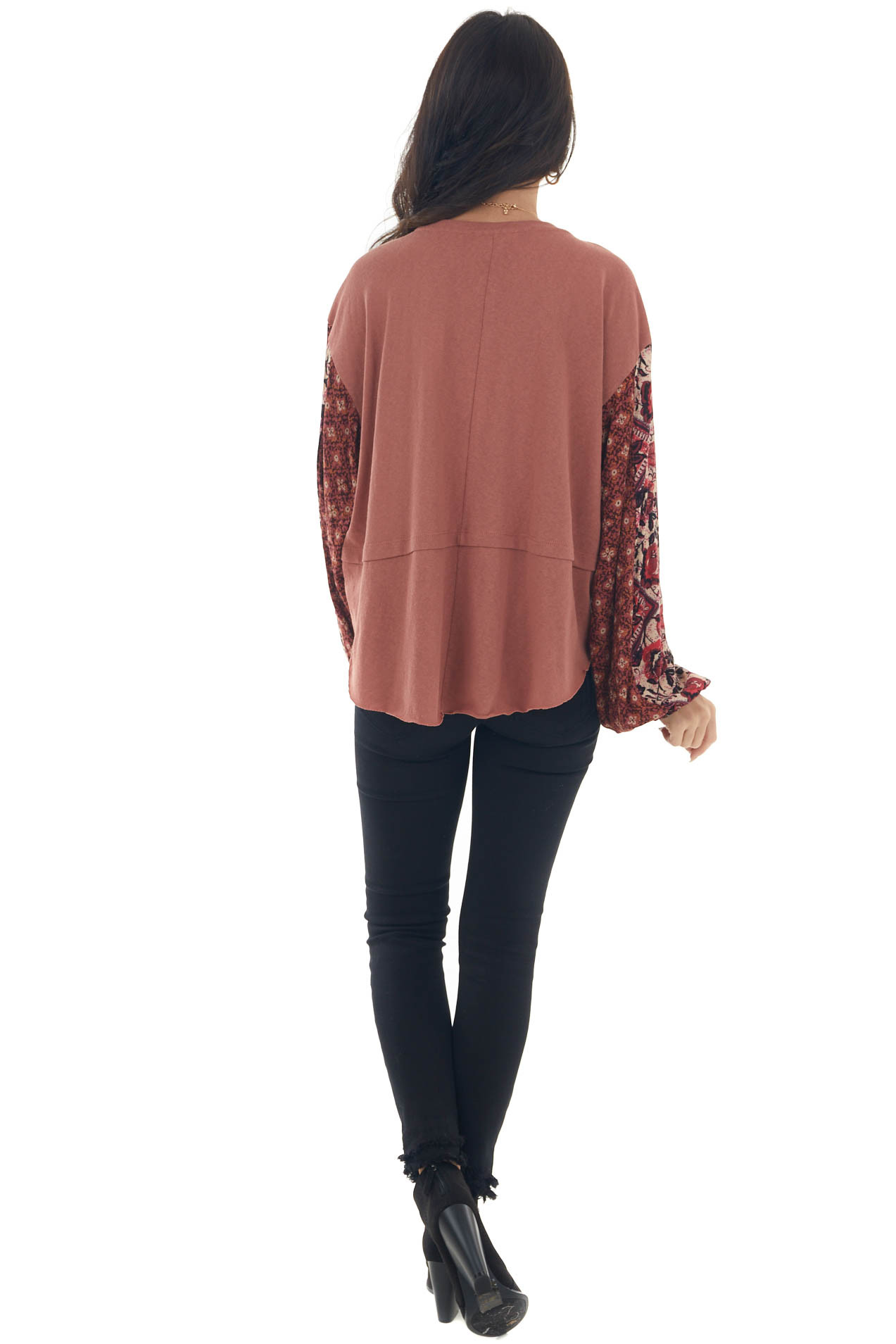 Terracotta Printed Sleeve Contrast Knit Top