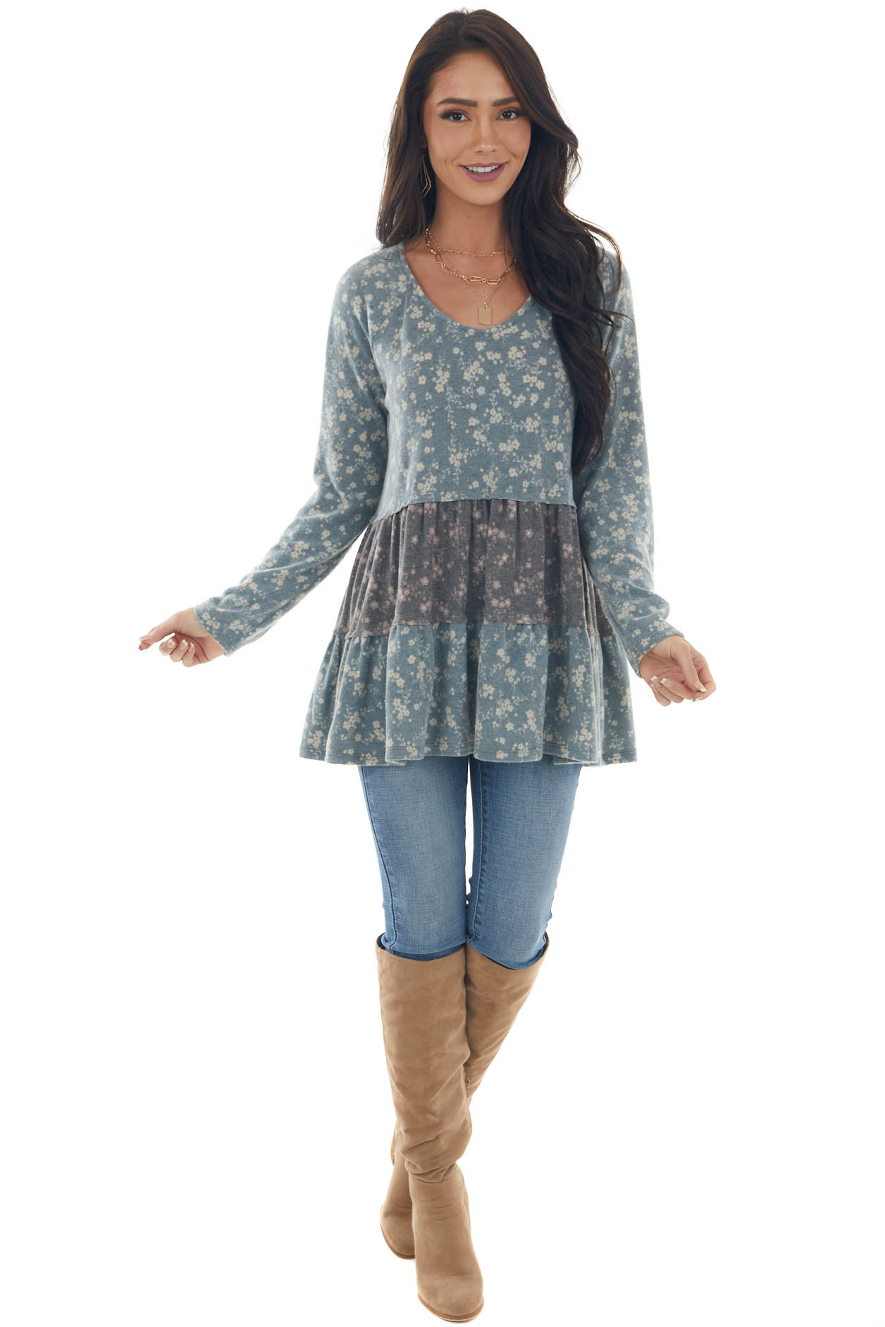 Spruce Ditsy Floral Print Brush Knit Top