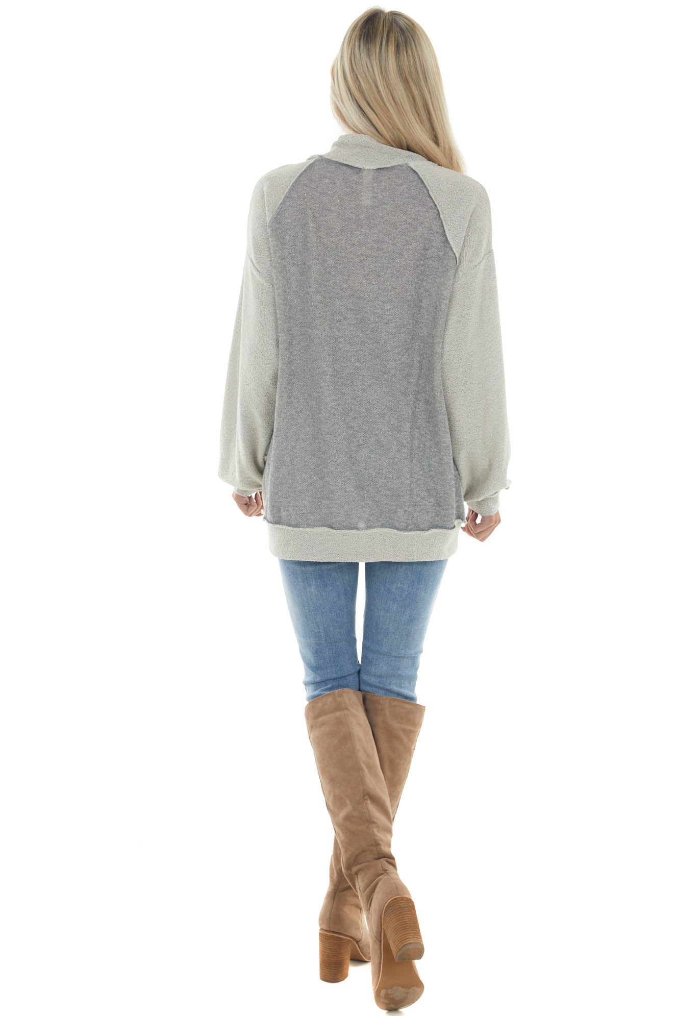 Dove Grey Reverse Seam French Terry Knit Top
