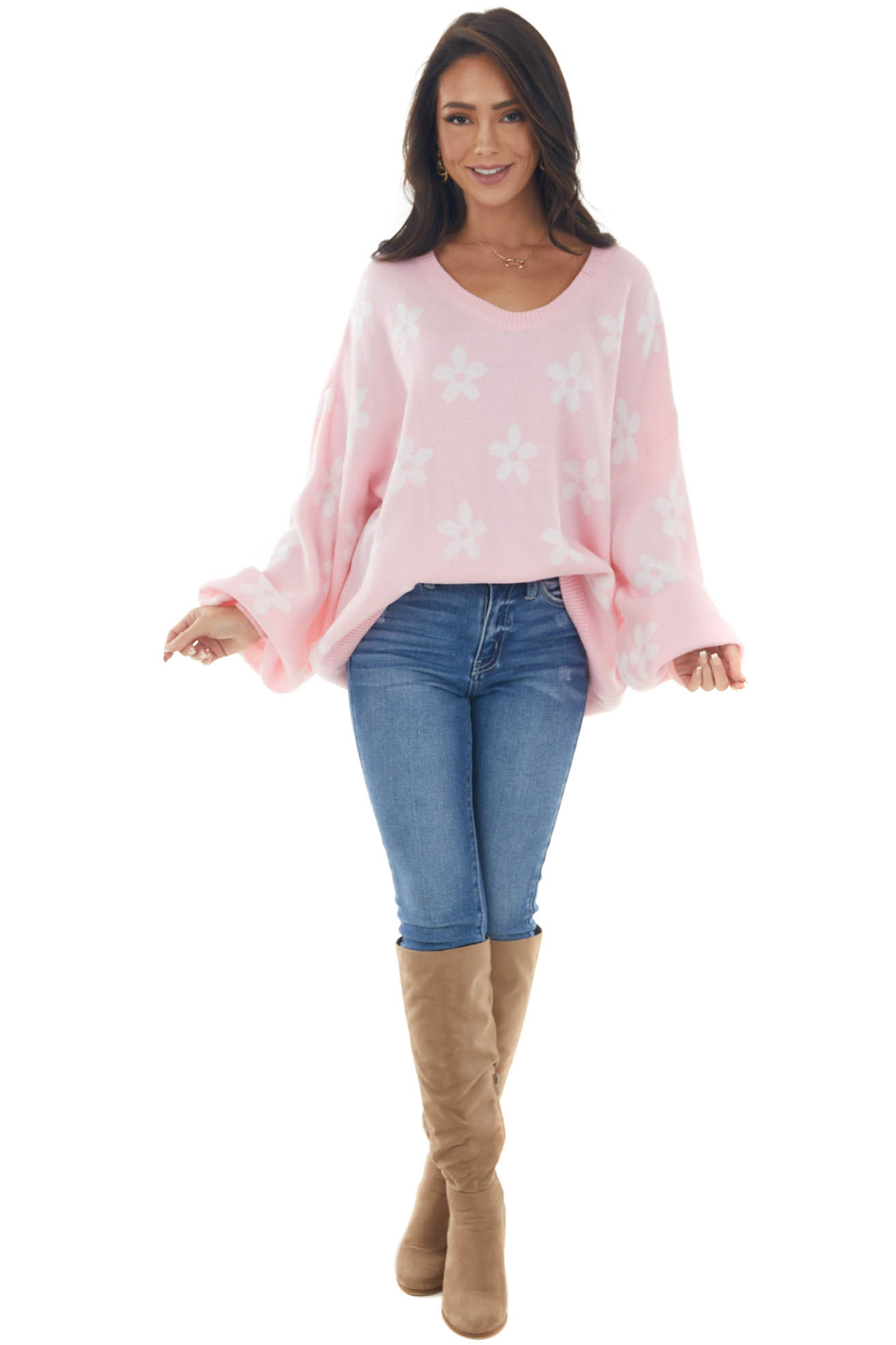 Cherry Blossom and Ivory Daisy Print Sweater