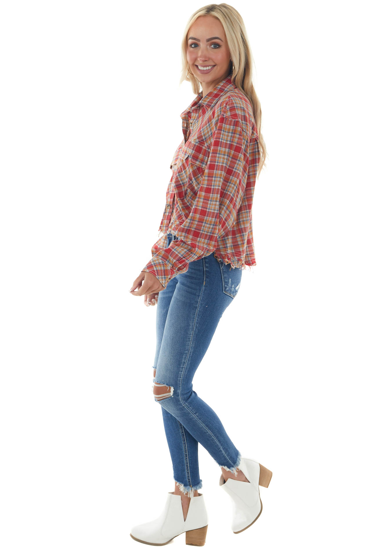 Ruby Plaid Button Up Frayed High Low Top