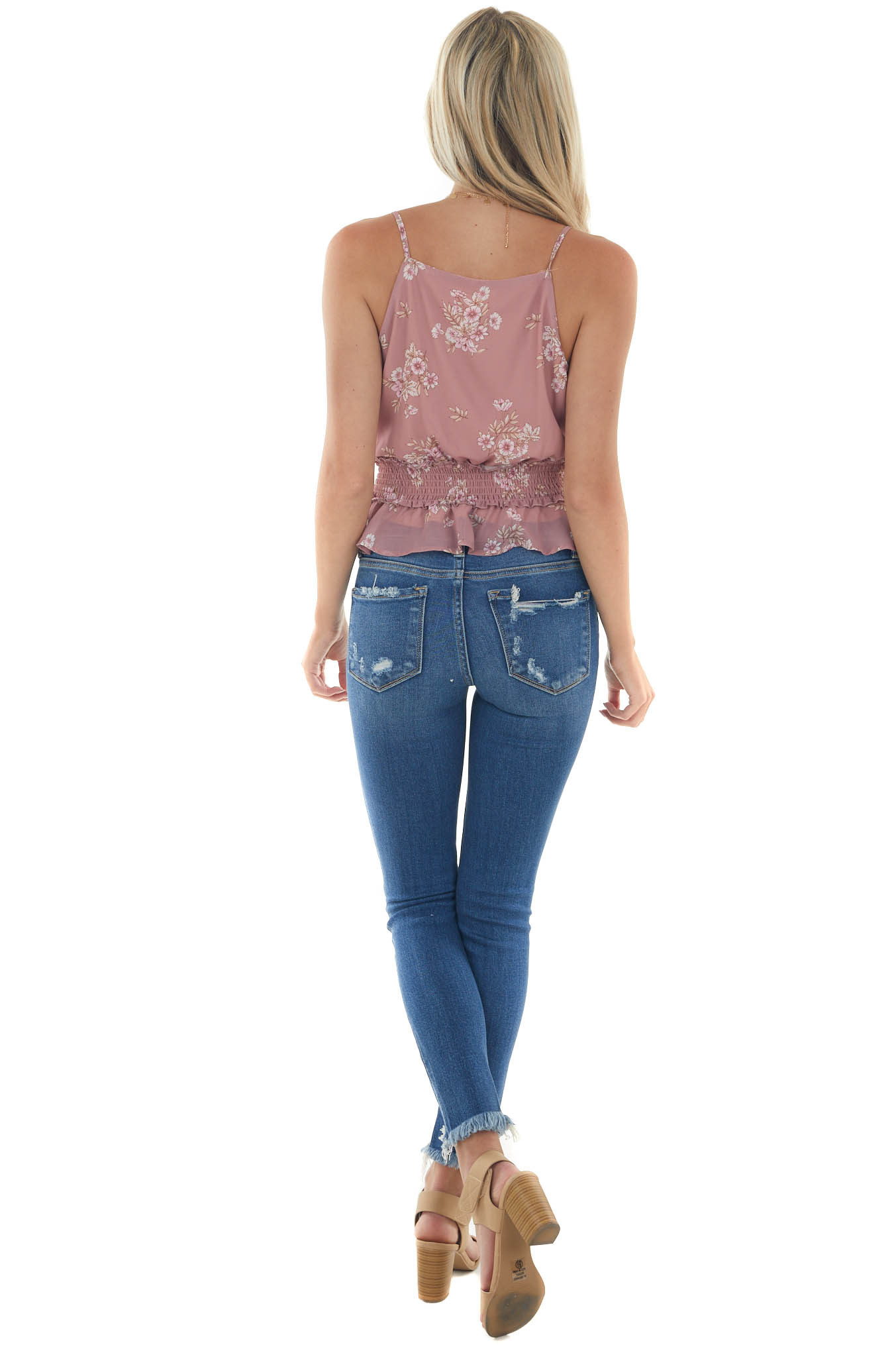 Dusty Rose Floral Cami with Smocked Waist