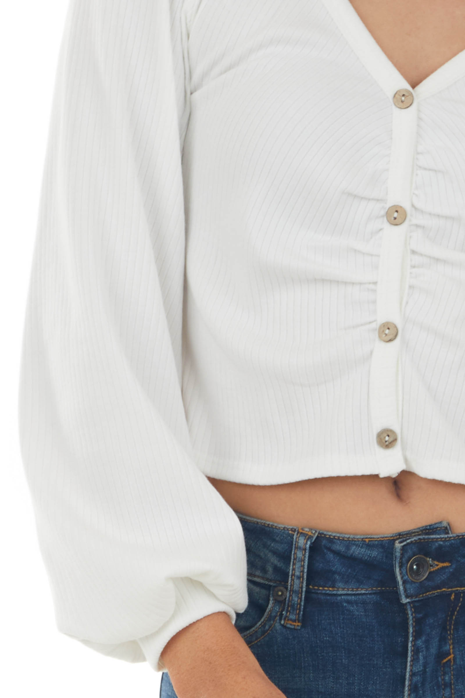 Off White Ribbed Button Down Detail Crop Top