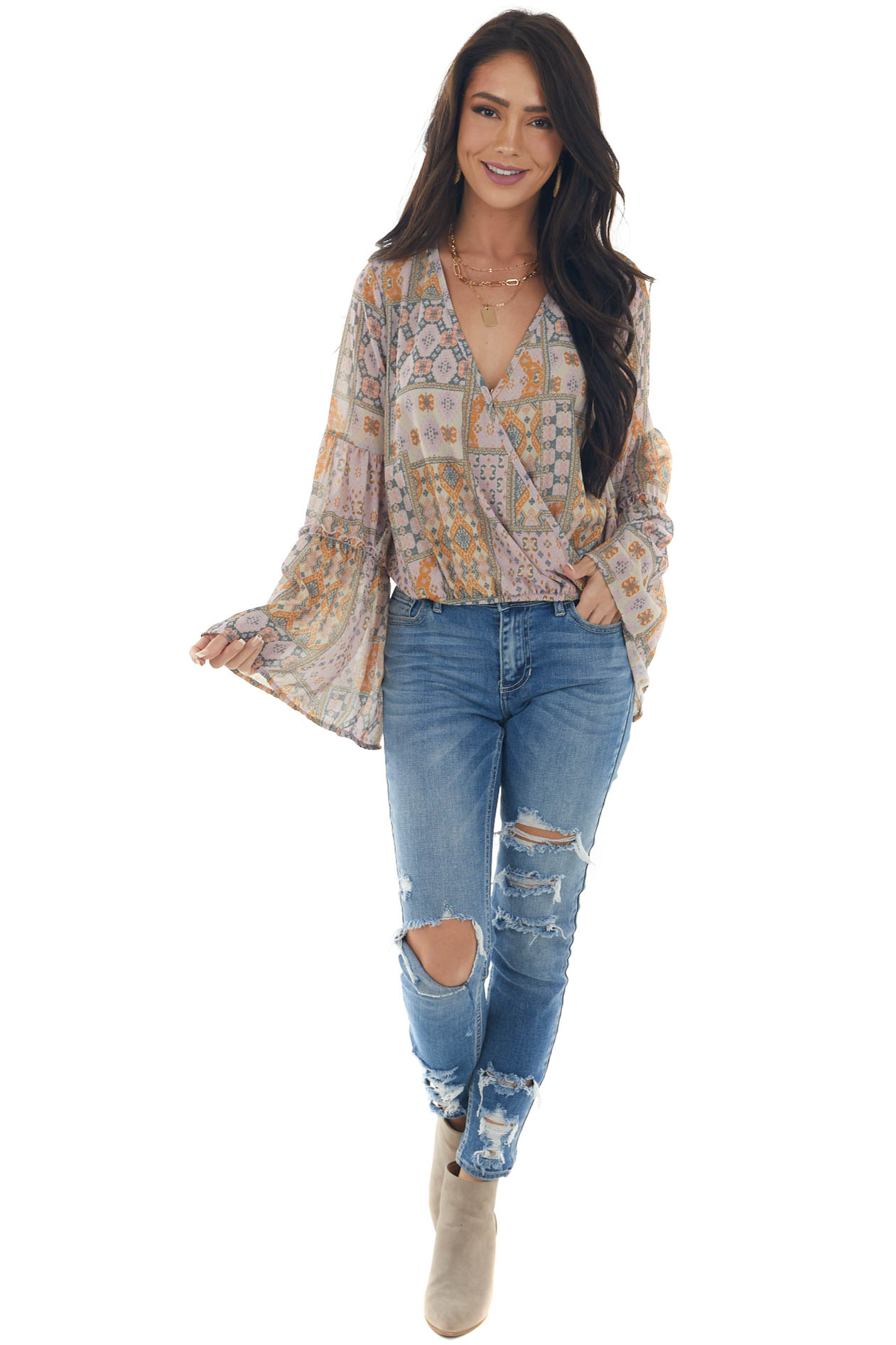 Faded Orchid Abstract High Low Bell Sleeve Top