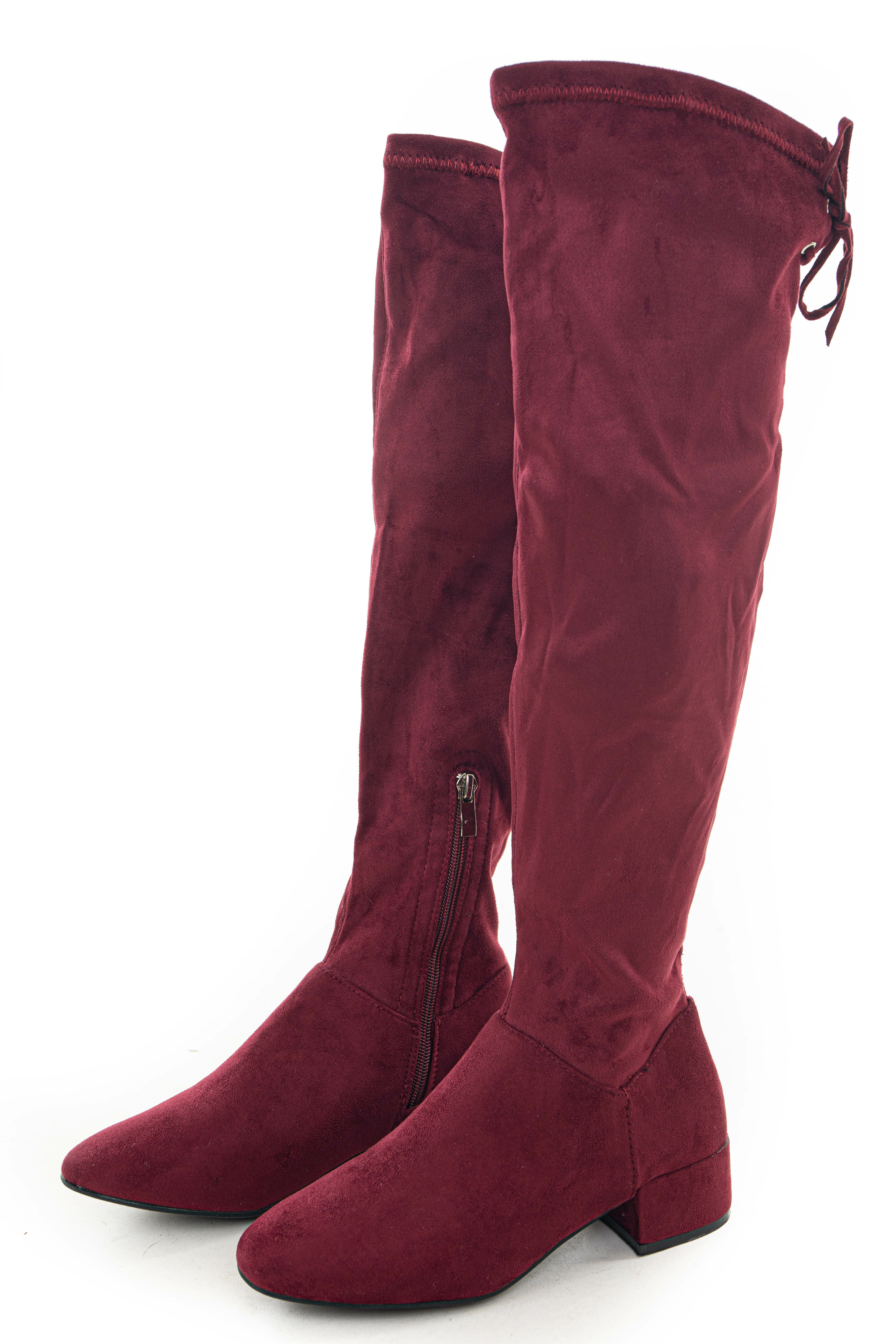 Wine Faux Suede Boots with Back Lace Up Detail