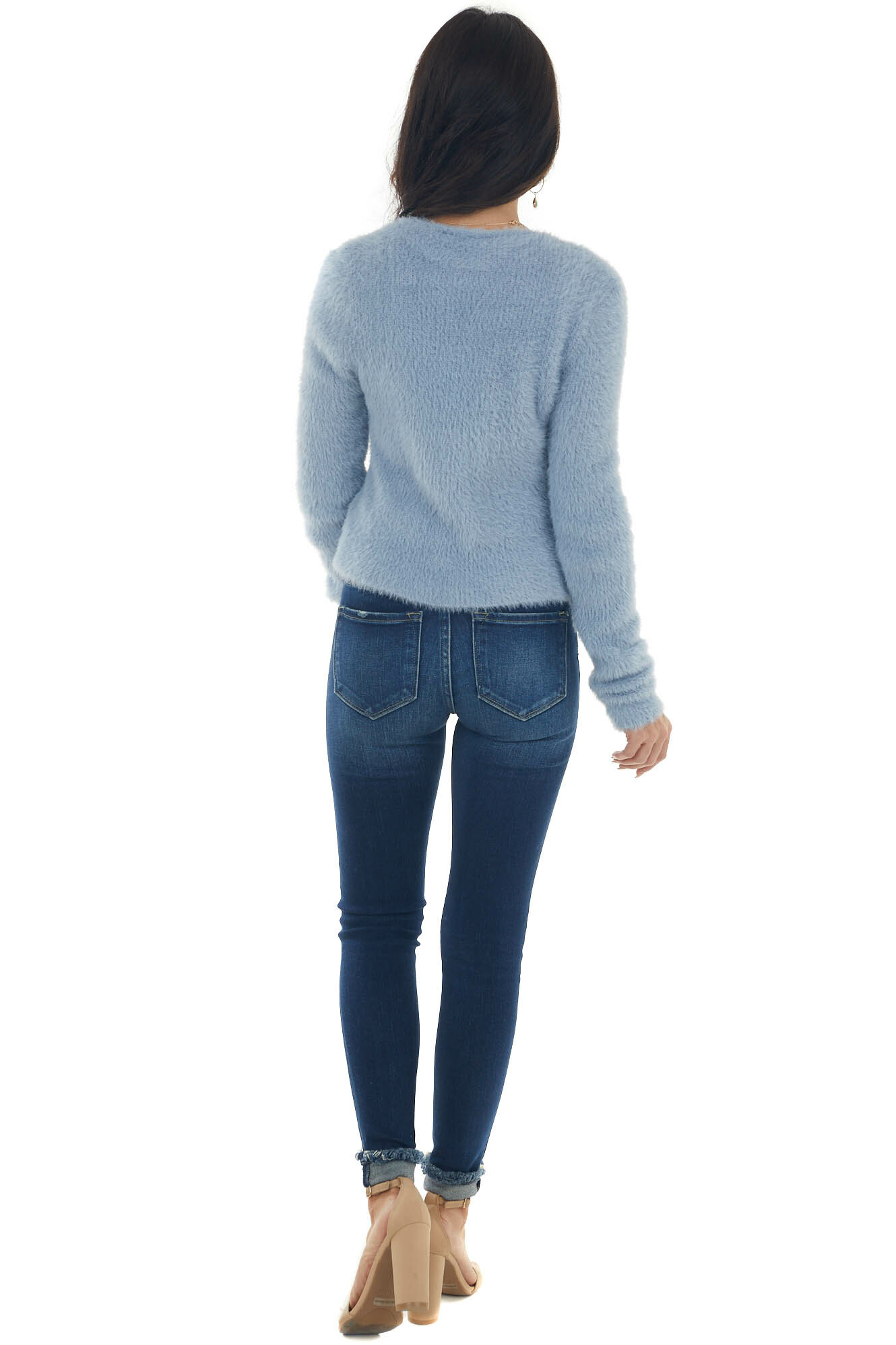Powder Blue Front Tie Brushed Knit Cardigan