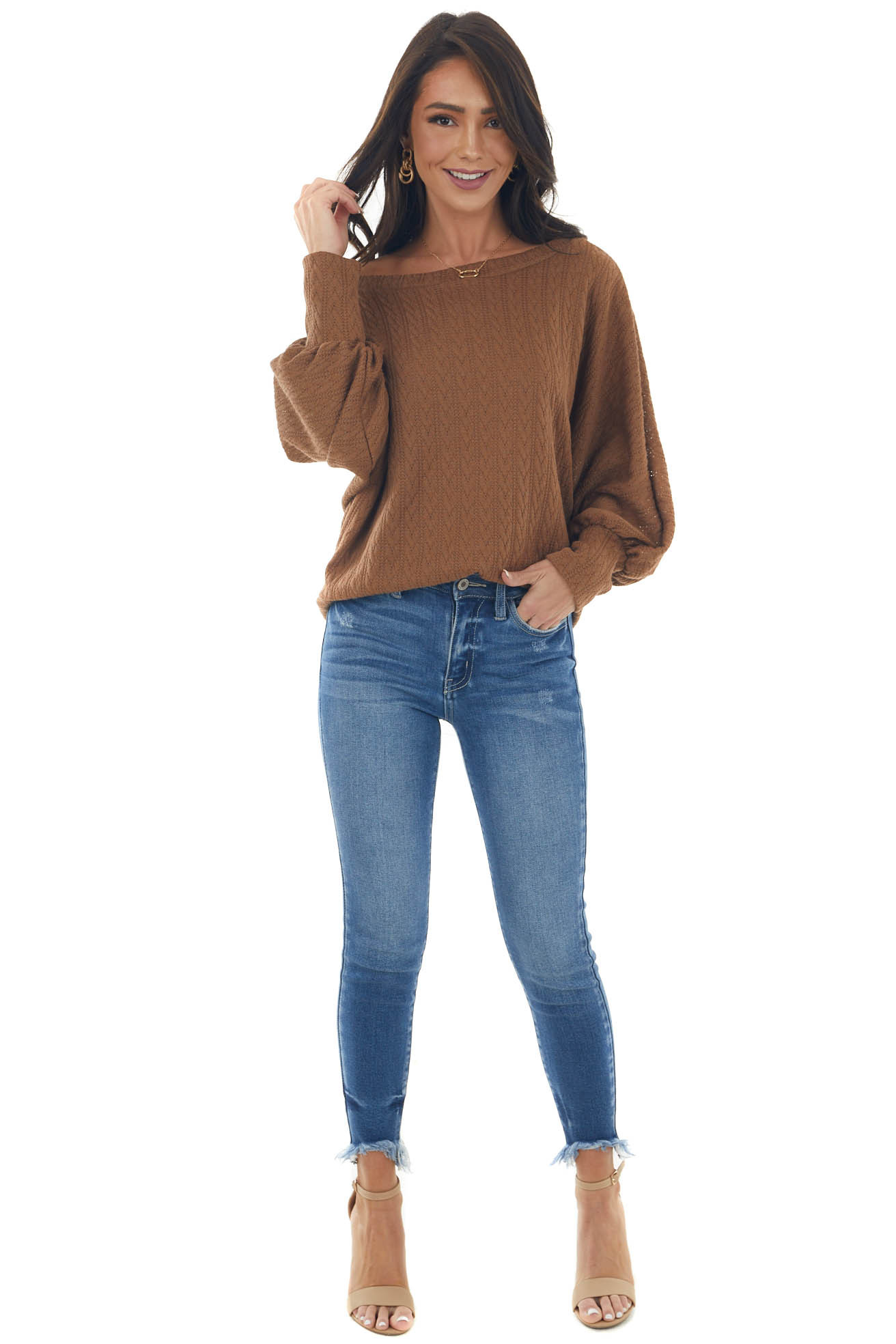 Sepia Textured Knit Banded Dolman Sleeve Top