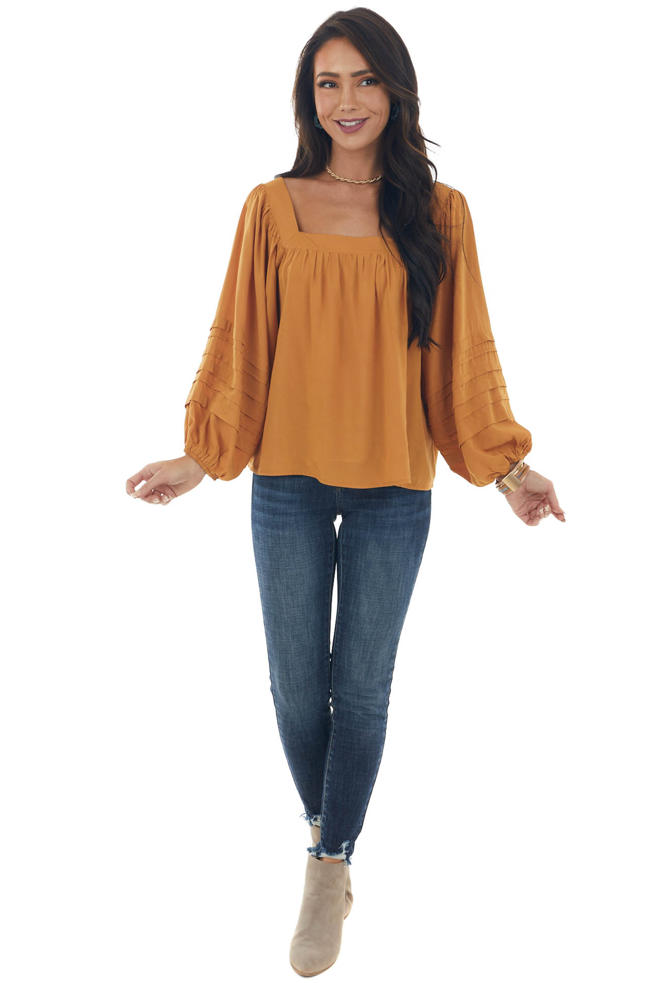 Mustard Square Neck Pleated Puff Sleeve Blouse