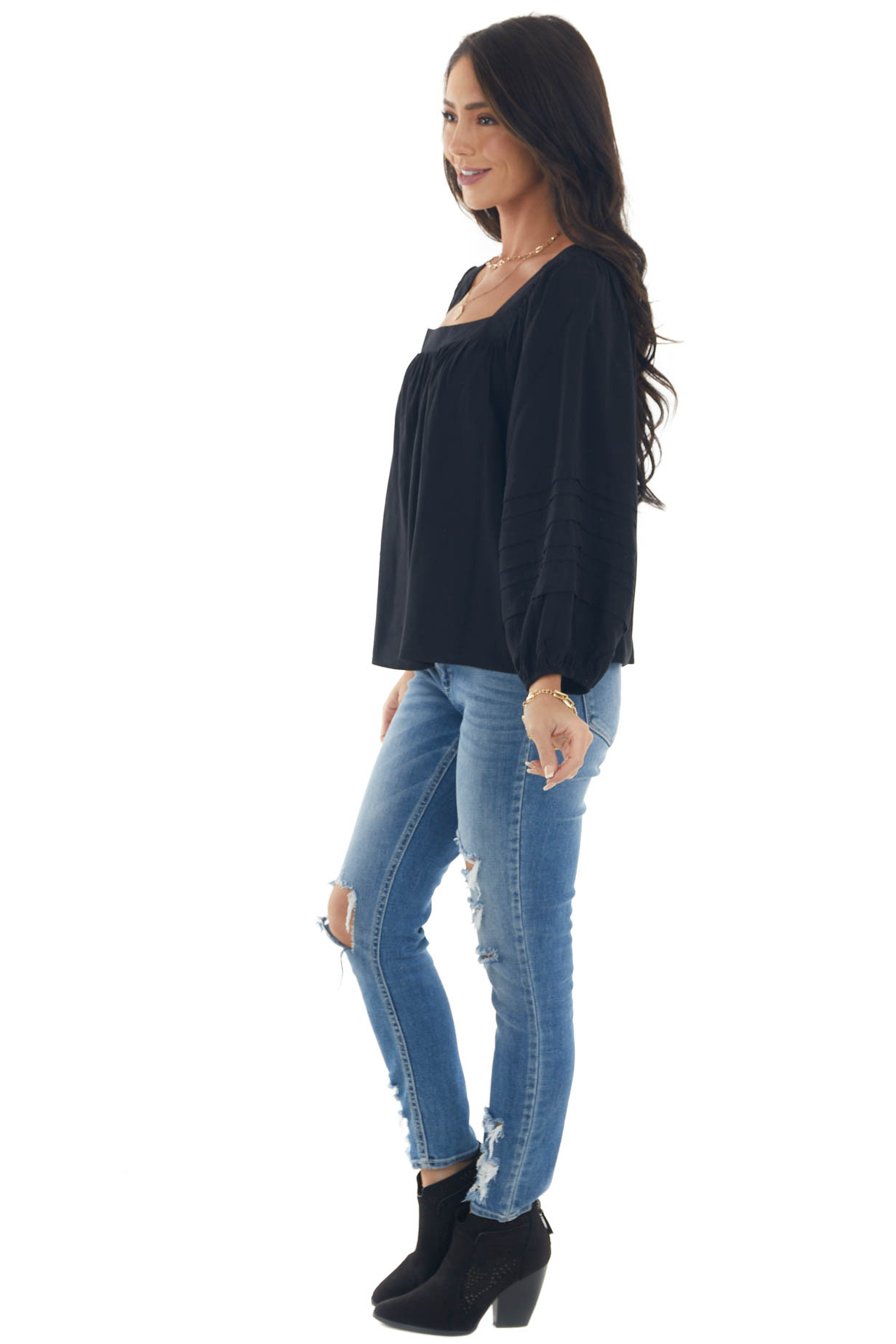 Black Square Neck Pleated Puff Sleeve Blouse