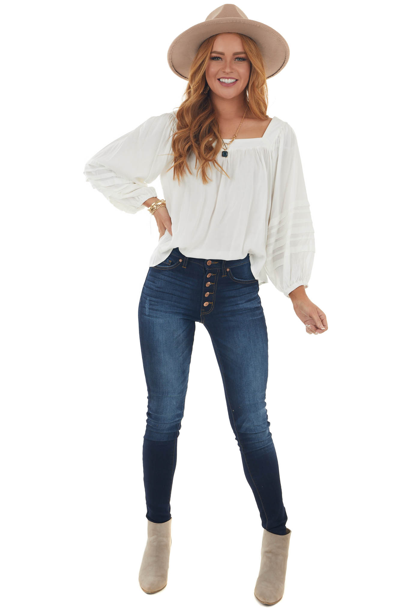 Ivory Square Neck Pleated Puff Sleeve Blouse