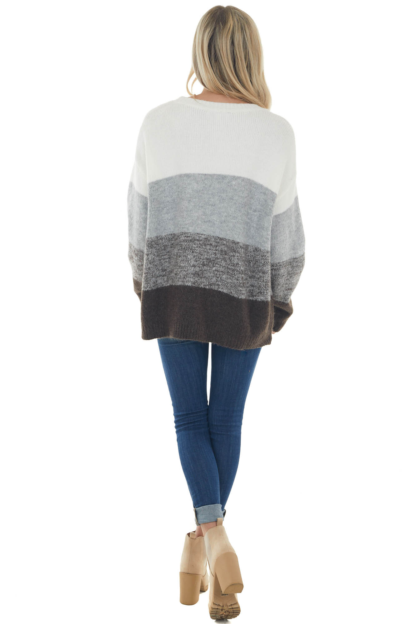 Dove Grey Colorblock Long Sleeve Knit Sweater