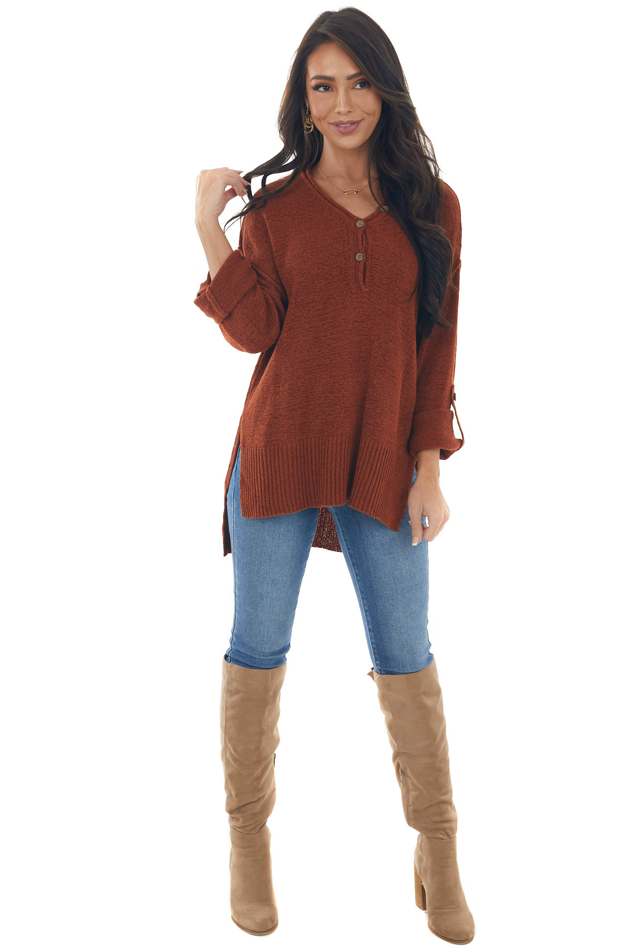 Rust Button Up Rolled Cuff Loose Knit Sweater