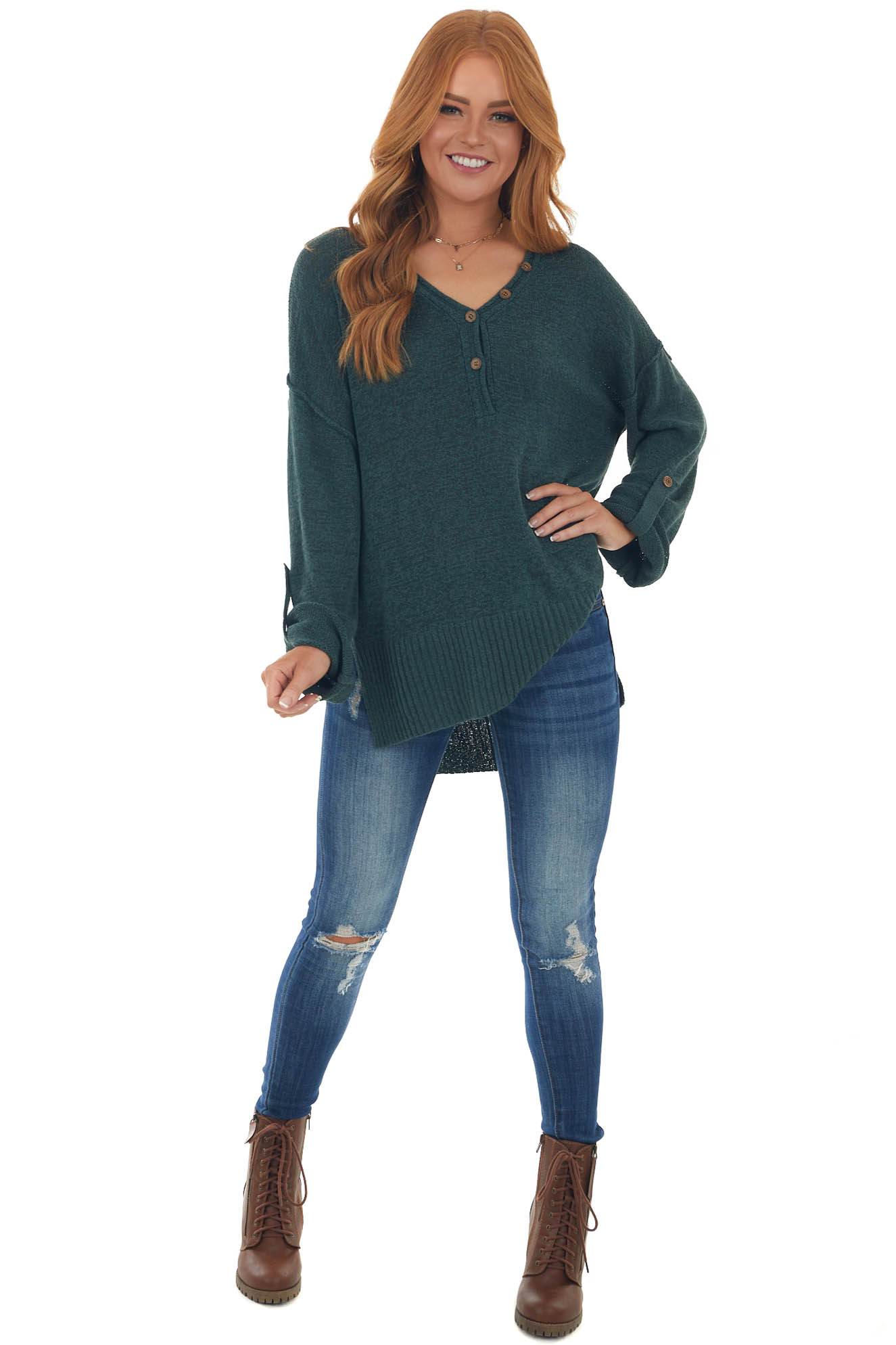 Pine Button Up Rolled Cuff Loose Knit Sweater