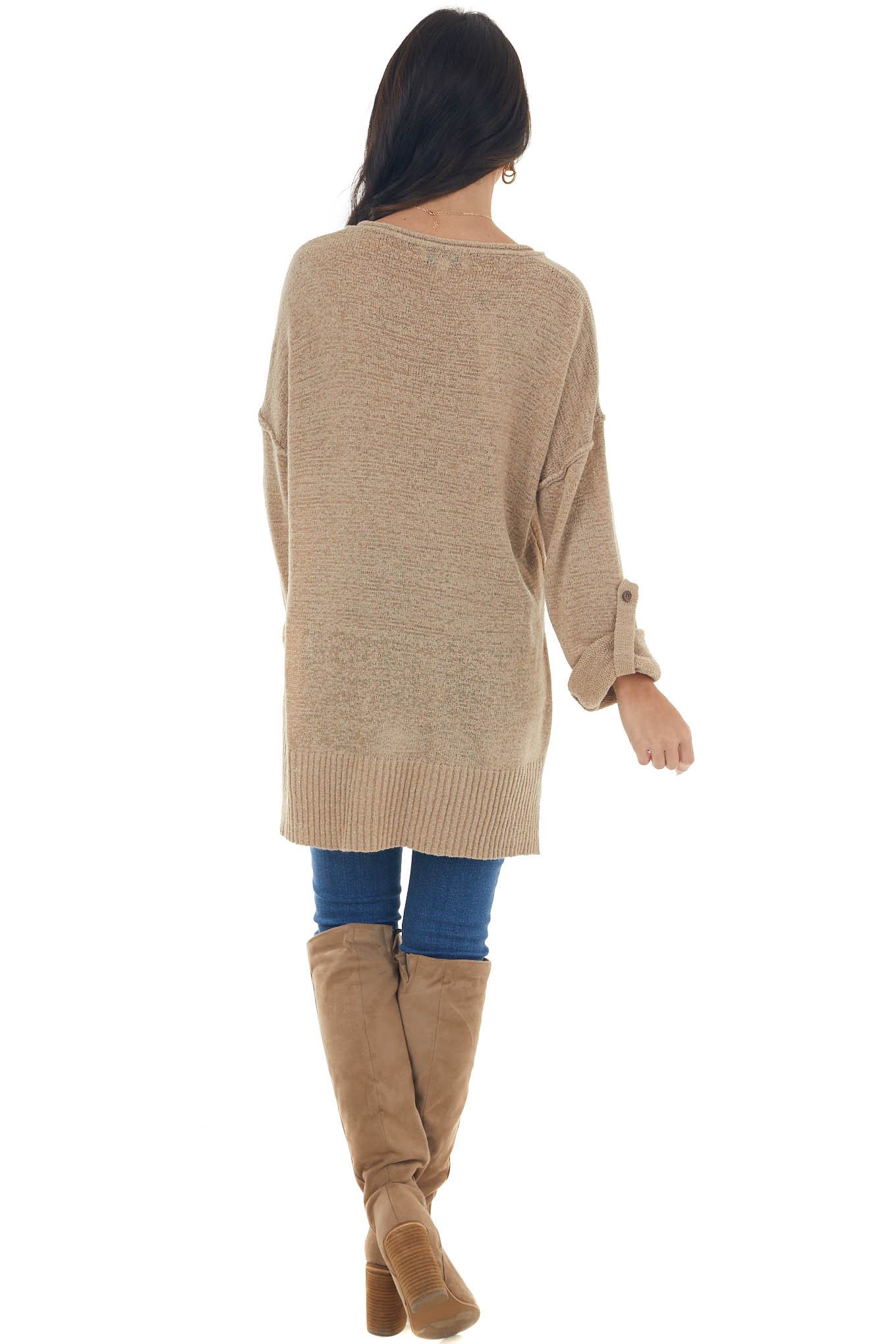 Latte Button Up Rolled Cuff Loose Knit Sweater
