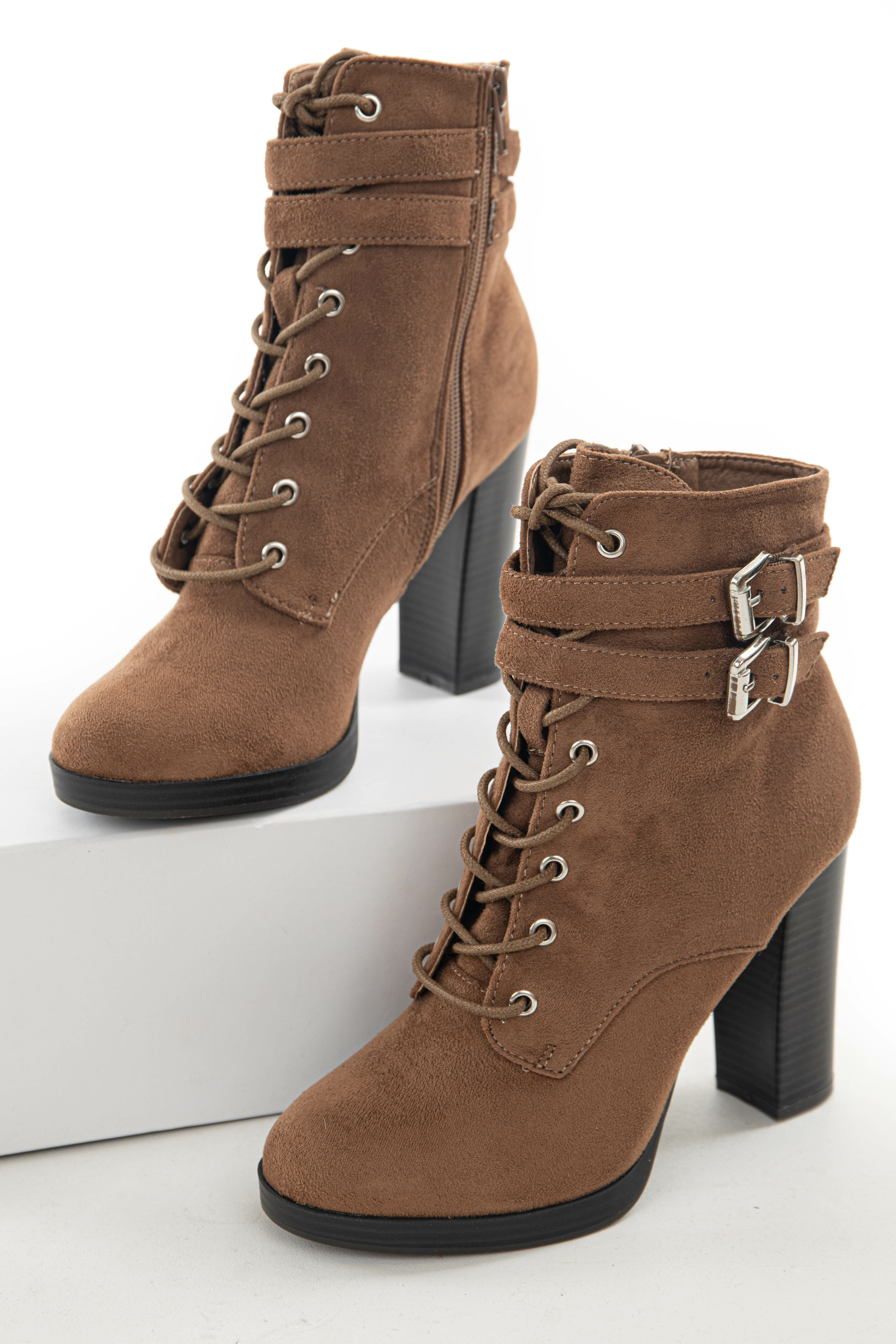 Sepia Faux Suede Lace Up High Heel Booties
