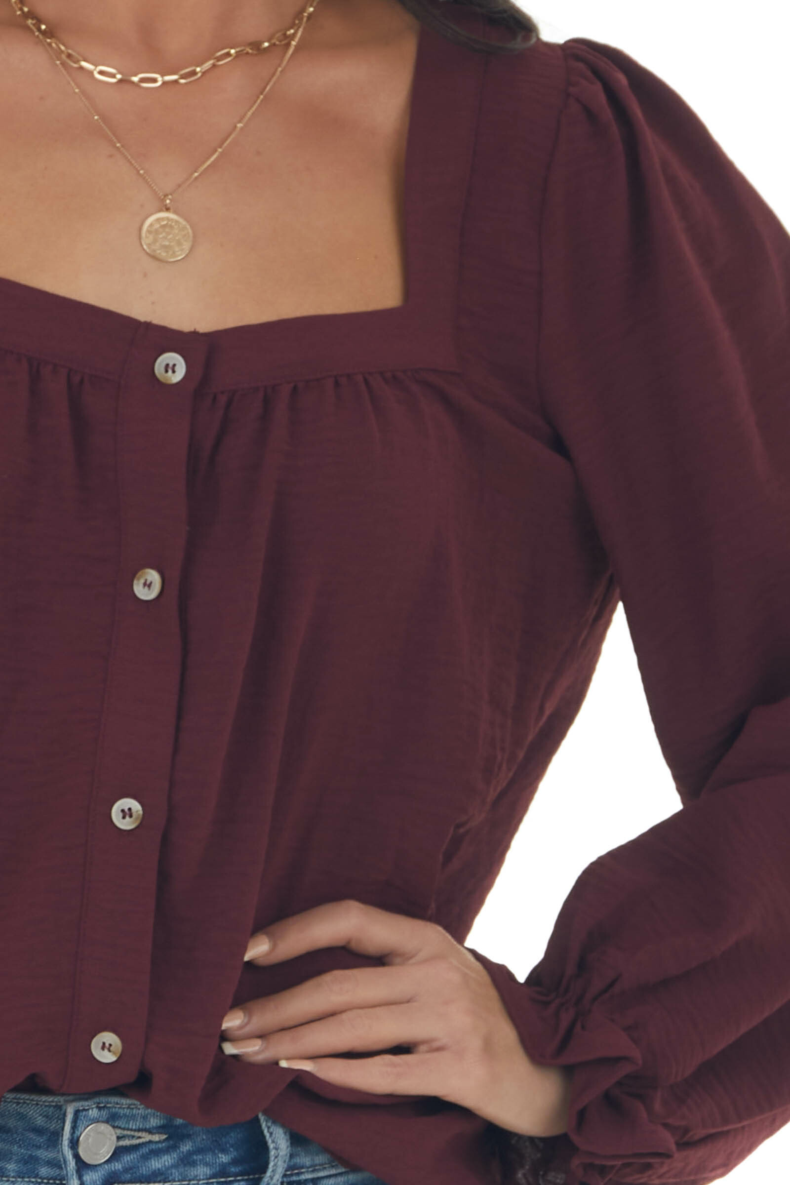 Wine Long Sleeve Button Up Textured Blouse