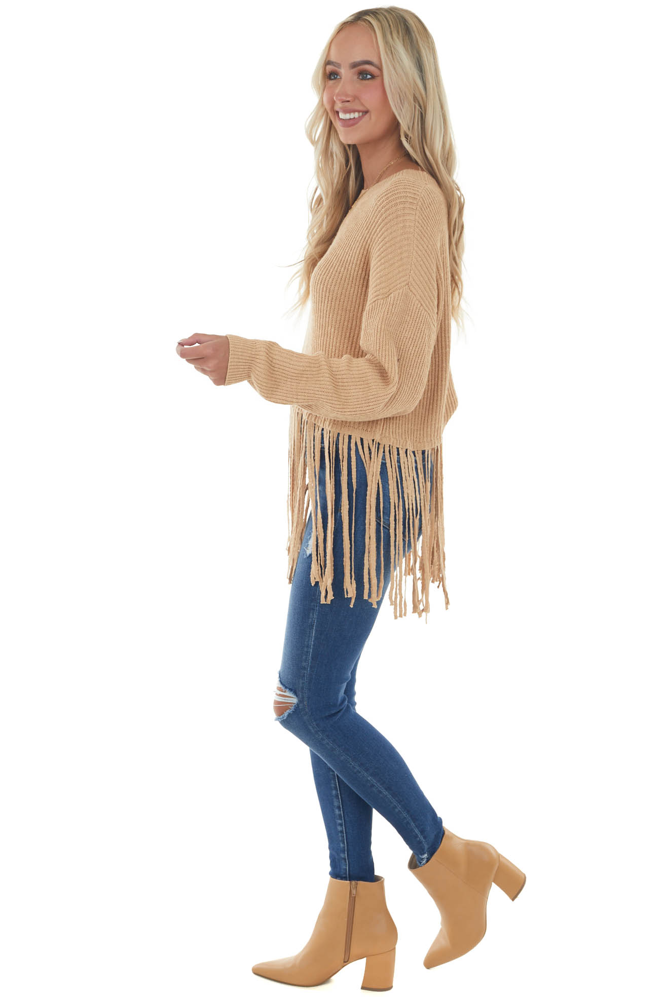 Beige Cropped Sweater with Long Fringe Detail