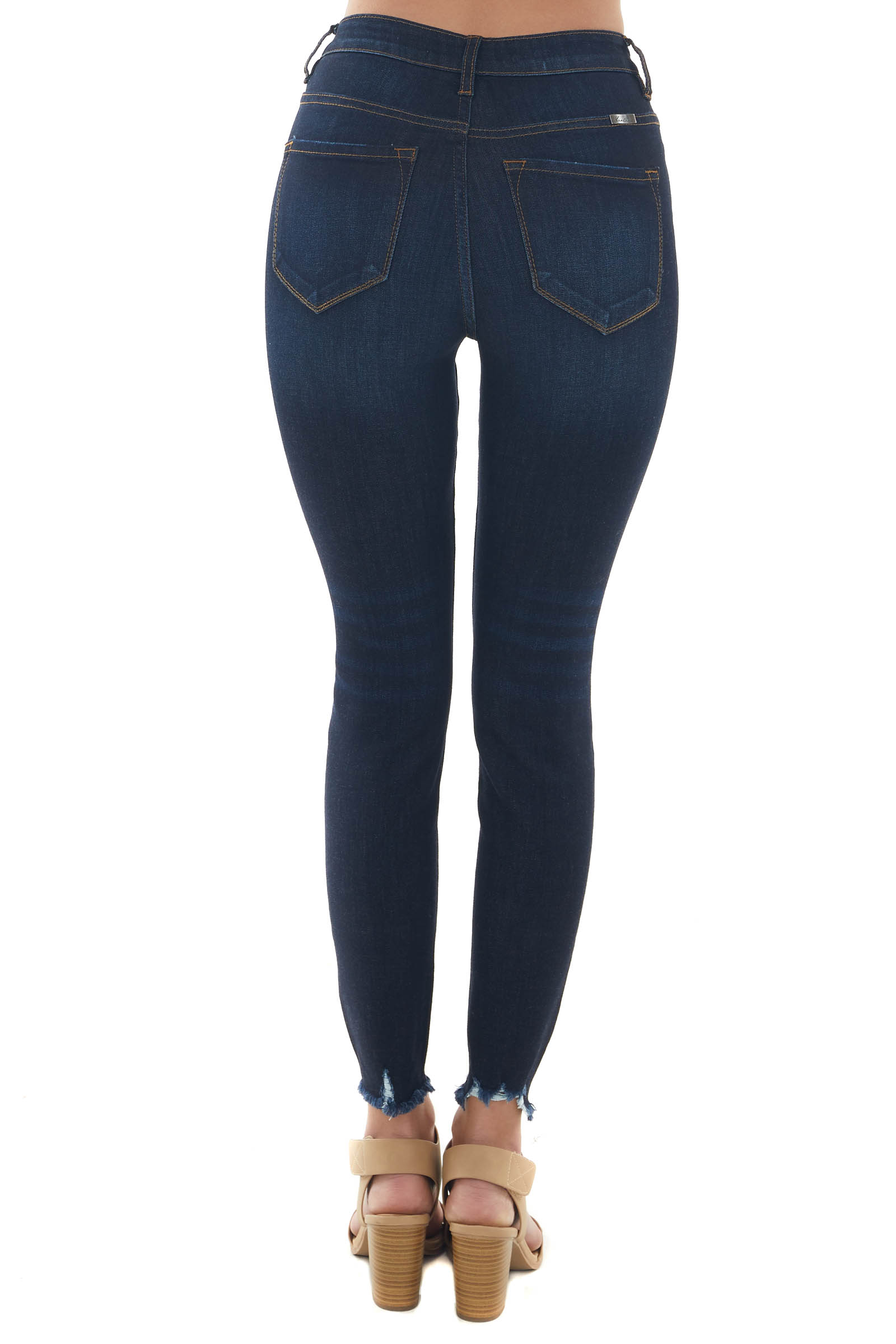 Dark High Rise Multi Button Fly Skinny Jeans
