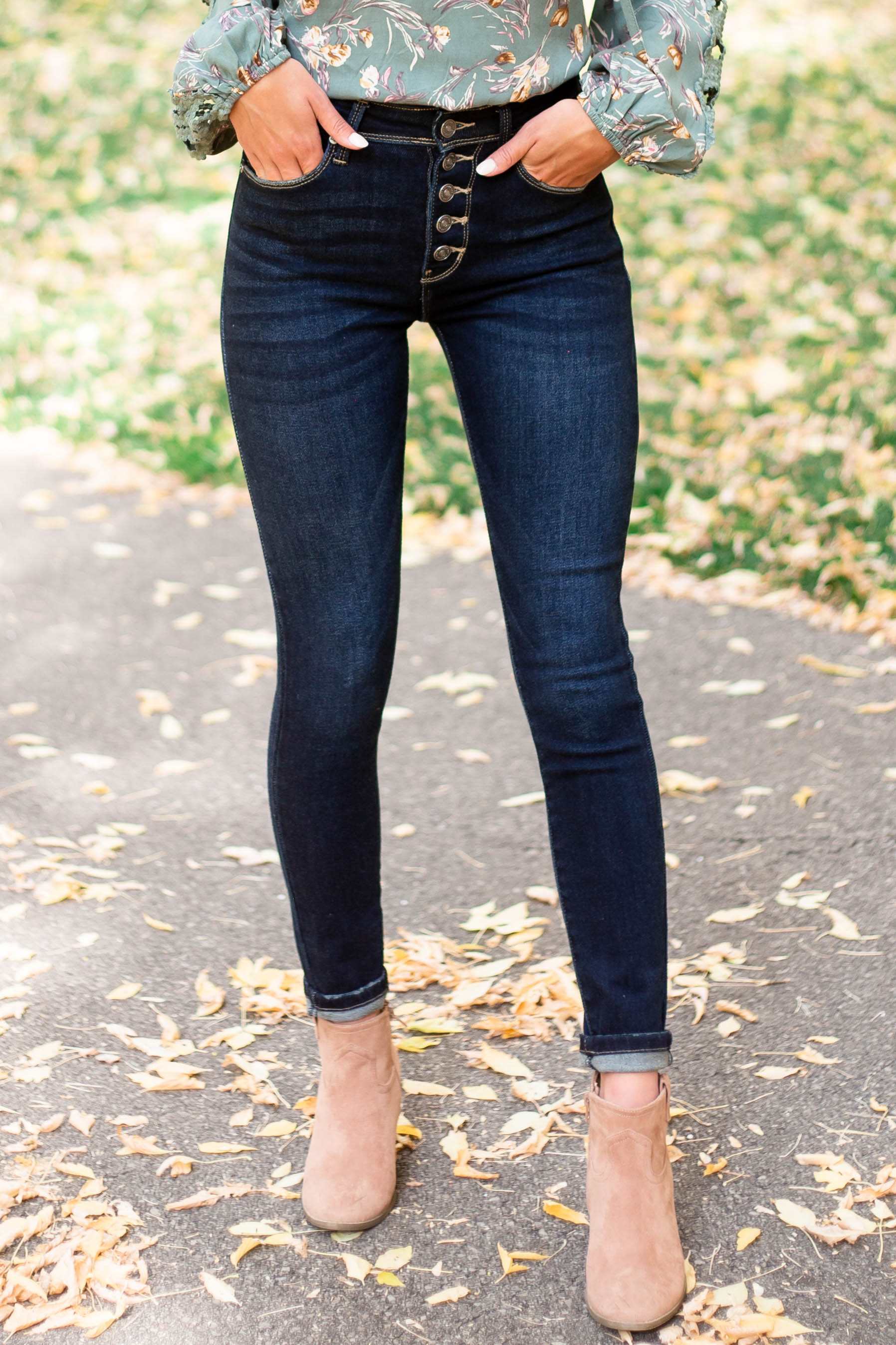 Dark Wash High Rise Skinny Fit Button Up Jeans