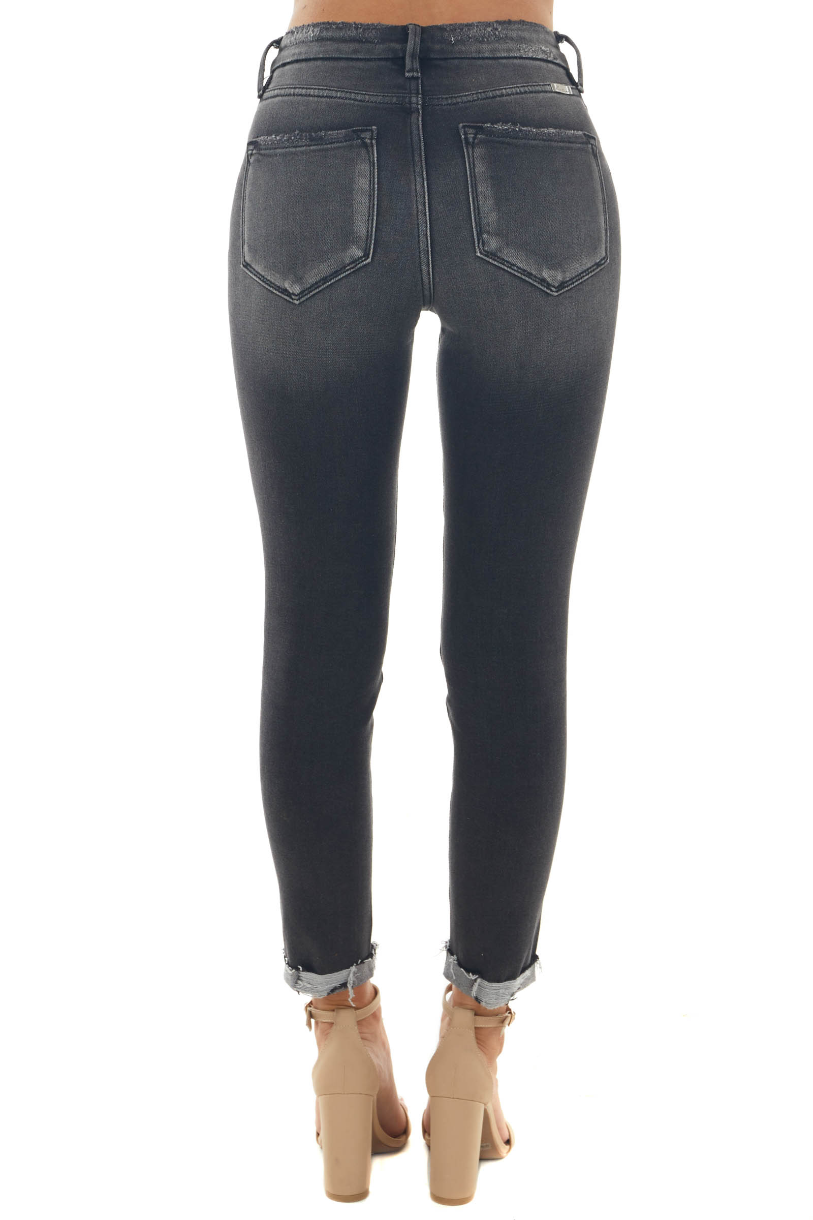 Charcoal Washed High Rise Distressed Jeans