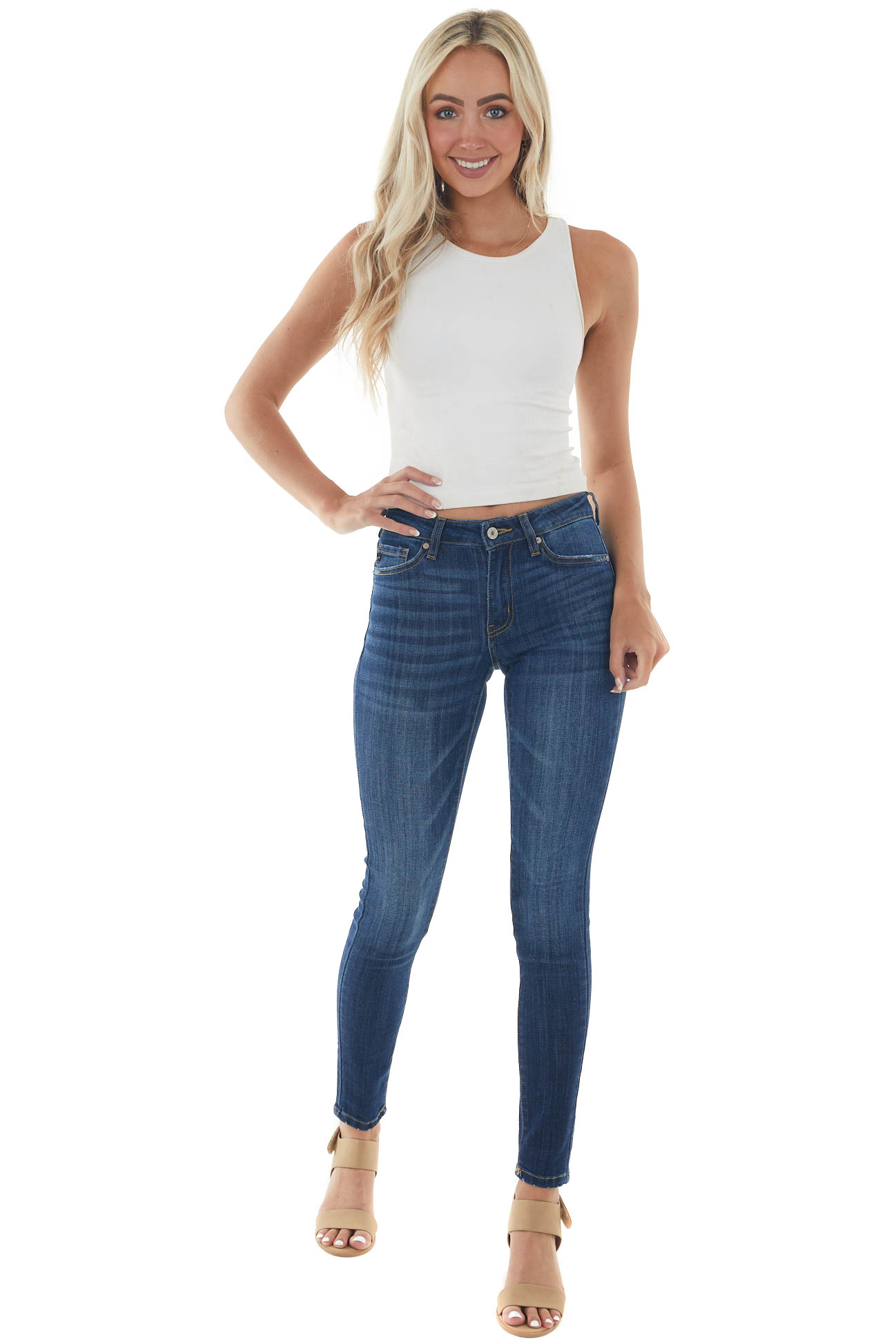 Dark Wash Mid Rise Lightly Distressed Jeans