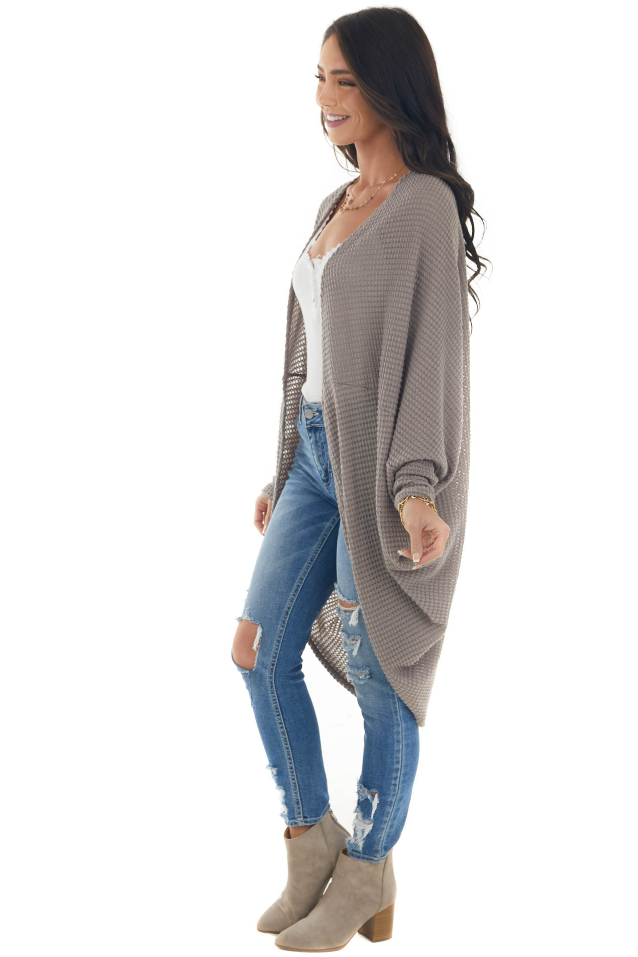 Deep Taupe Waffle Knit Long Sleeve Cardigan with Cocoon Hem