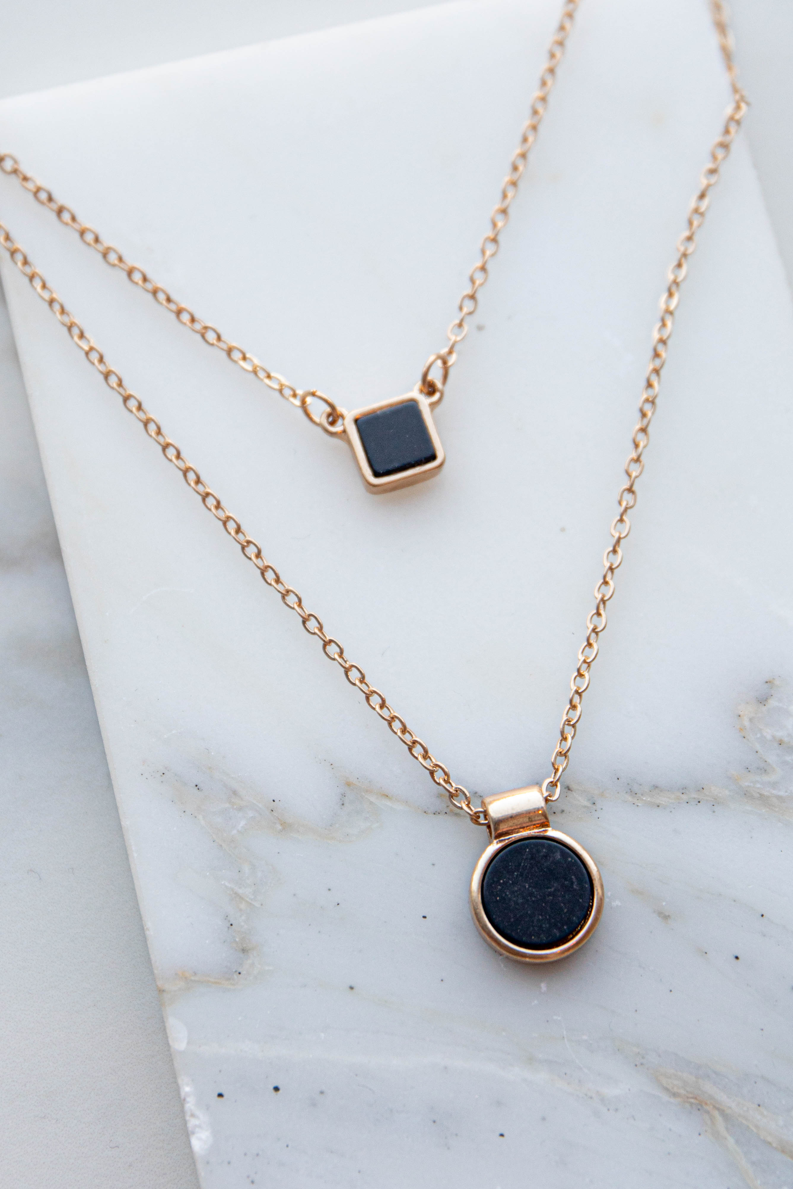 Black Charm Layered Gold Chain Necklace Set