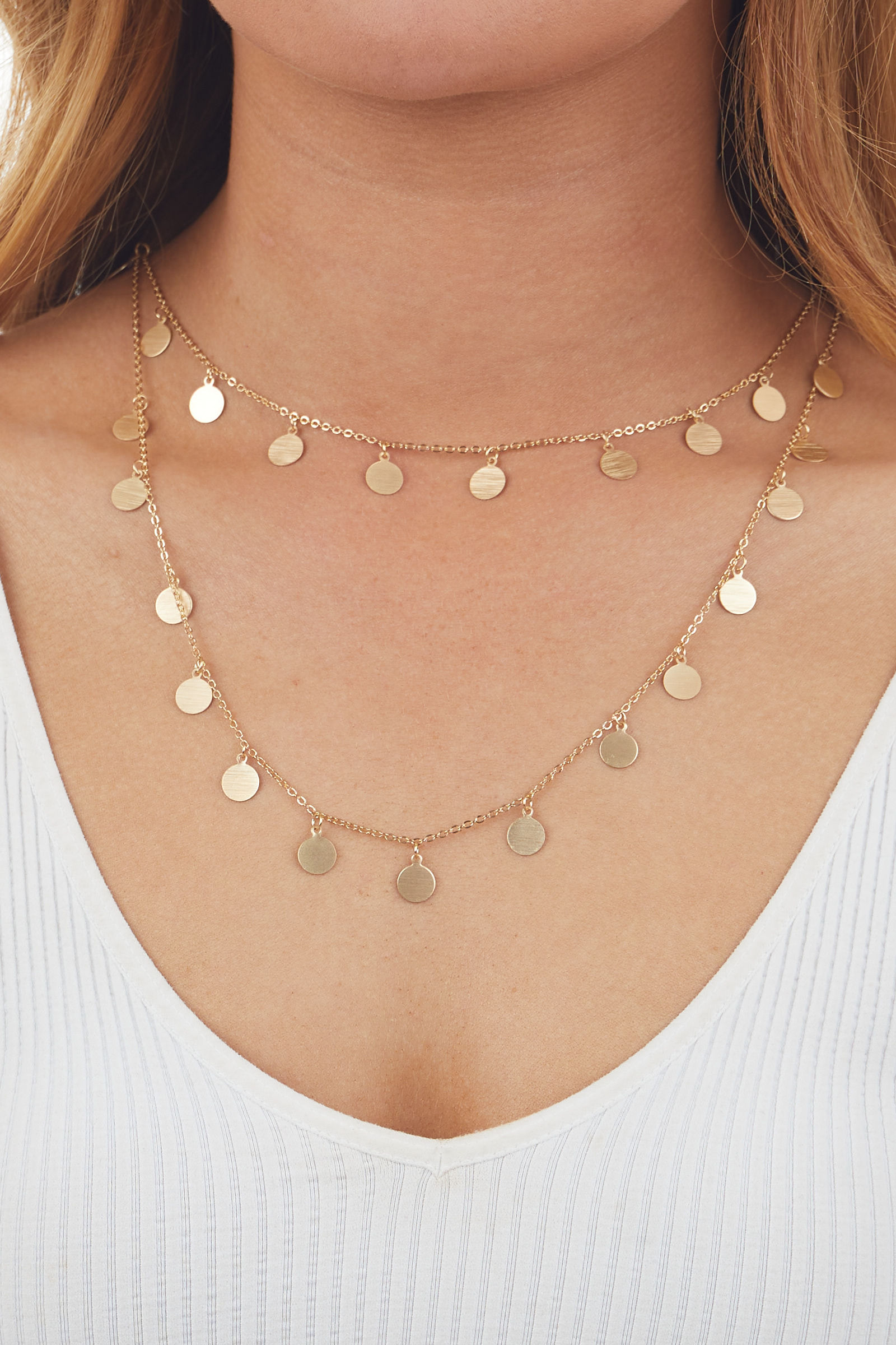 Brushed Gold Coin Charmed Chain Necklace