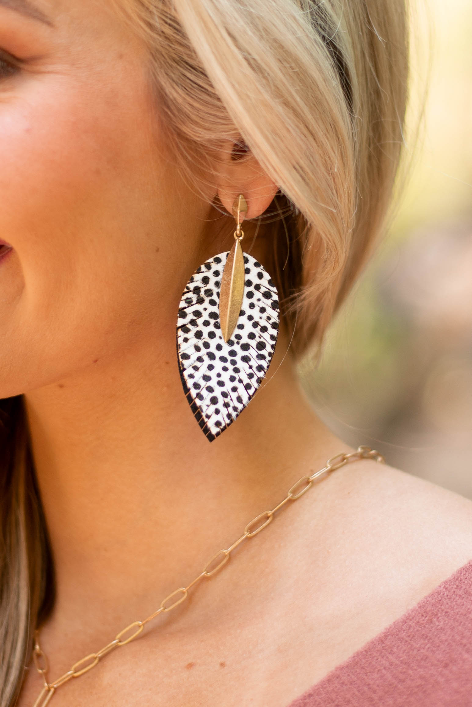 Ivory Animal Print Feather Drop Earrings