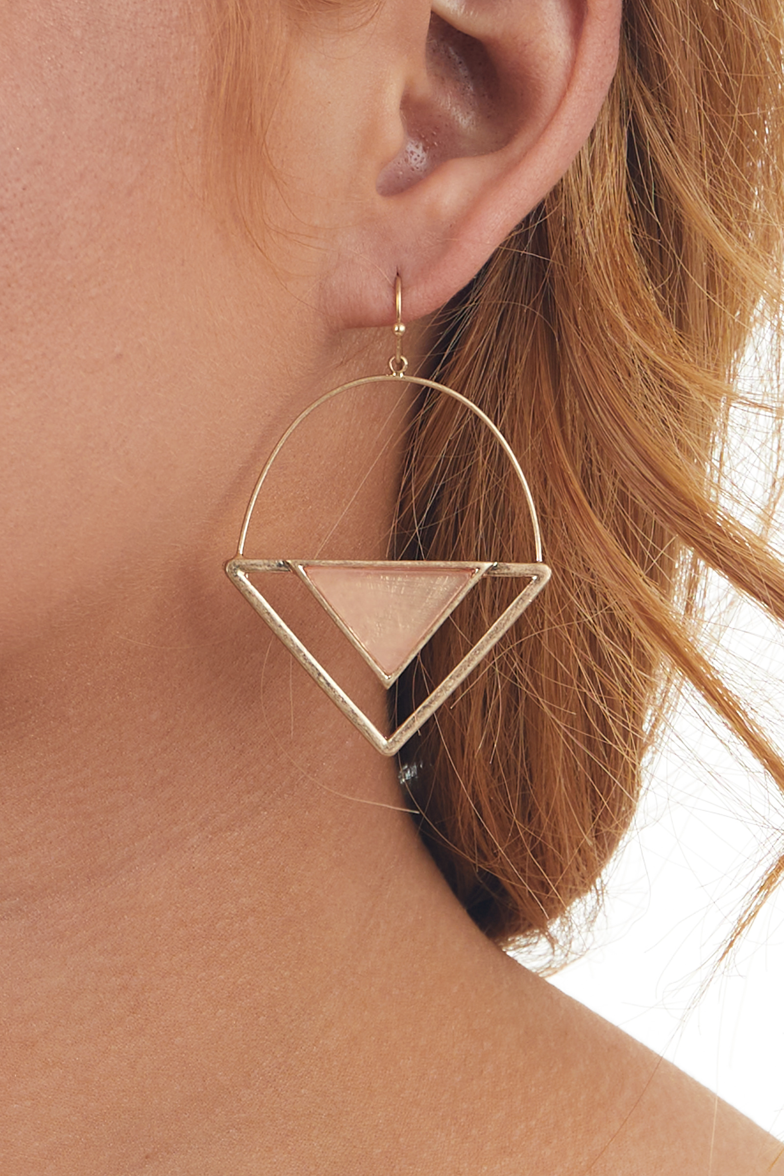 Gold Triangle Dangle Earrings with Peach Stone