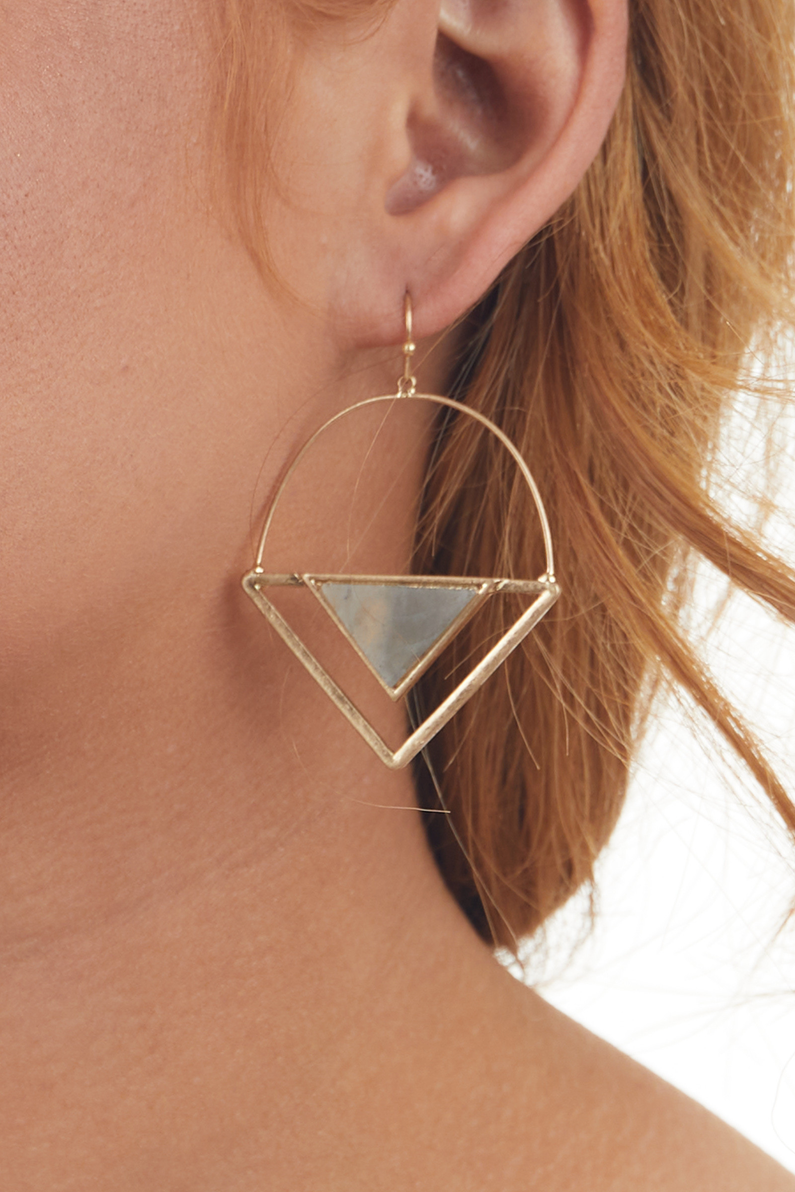 Gold Triangle Dangle Earrings with Ash Stone