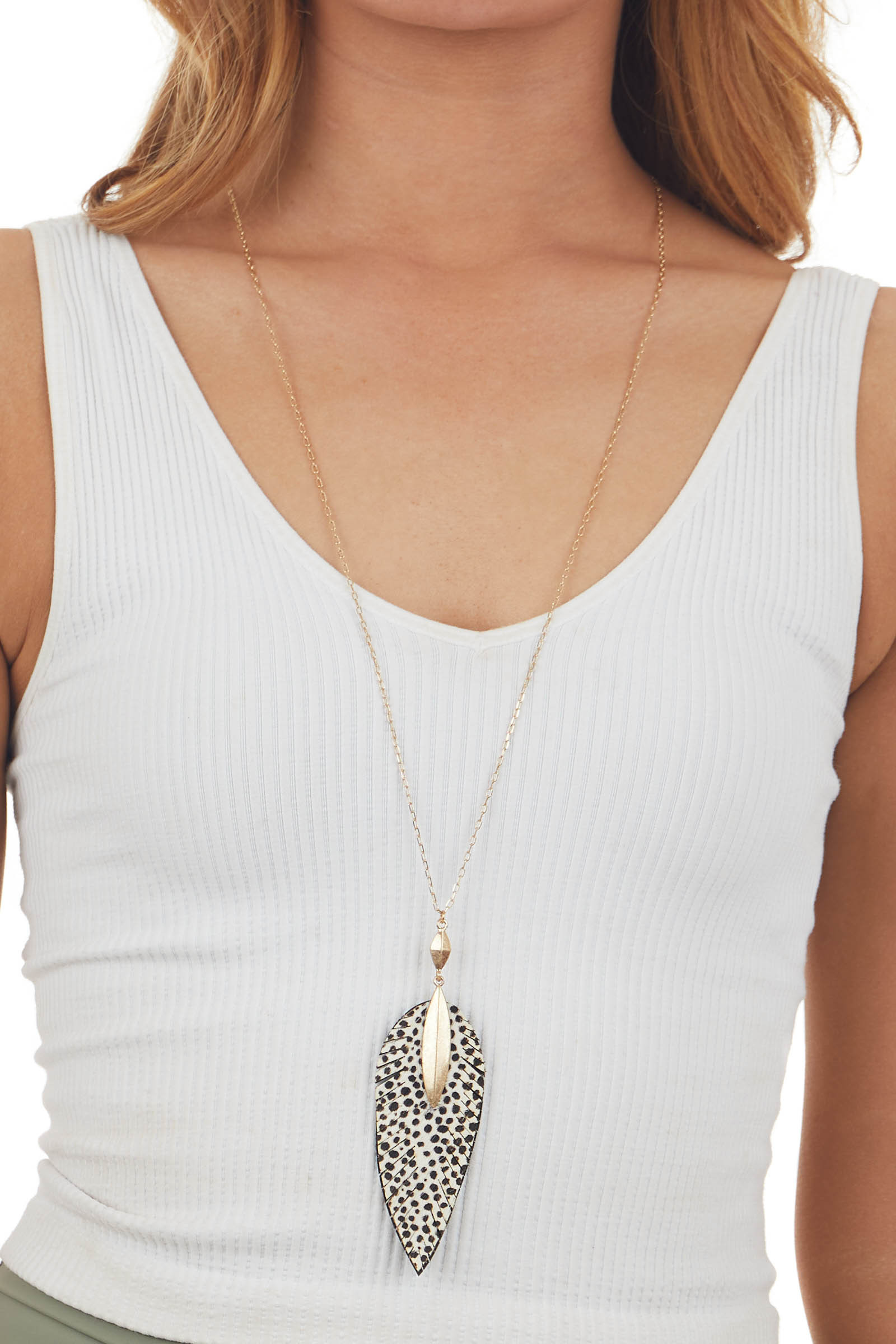 Ivory Animal Print Feather Long Necklace