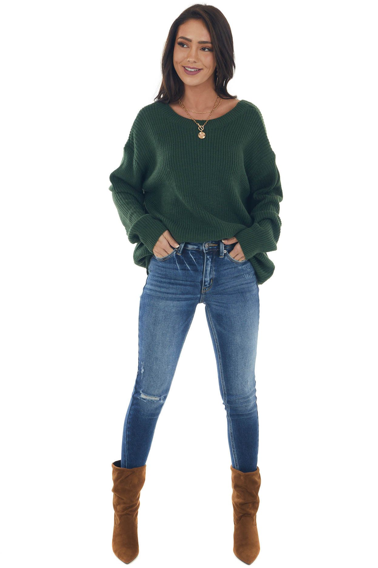 Forest Boat Neckline Knit Sweater with Back Cutout Detail