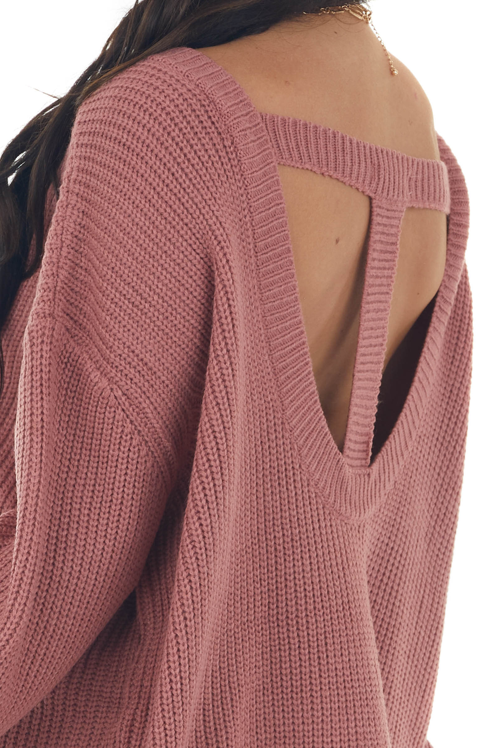 Hazy Rose Boat Neckline Knit Sweater with Back Cutout Detail