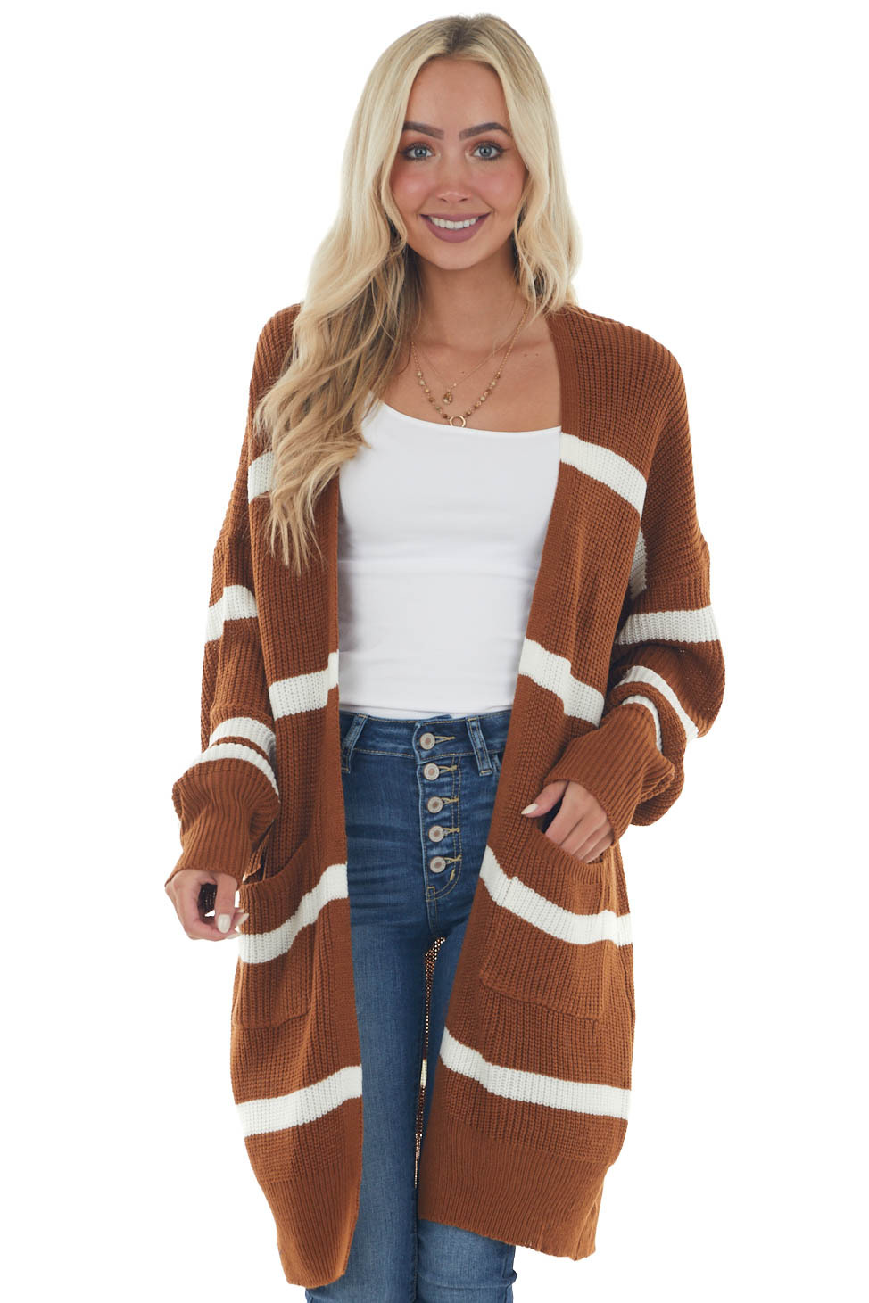Spice and Eggshell Striped Loose Knit Cardigan