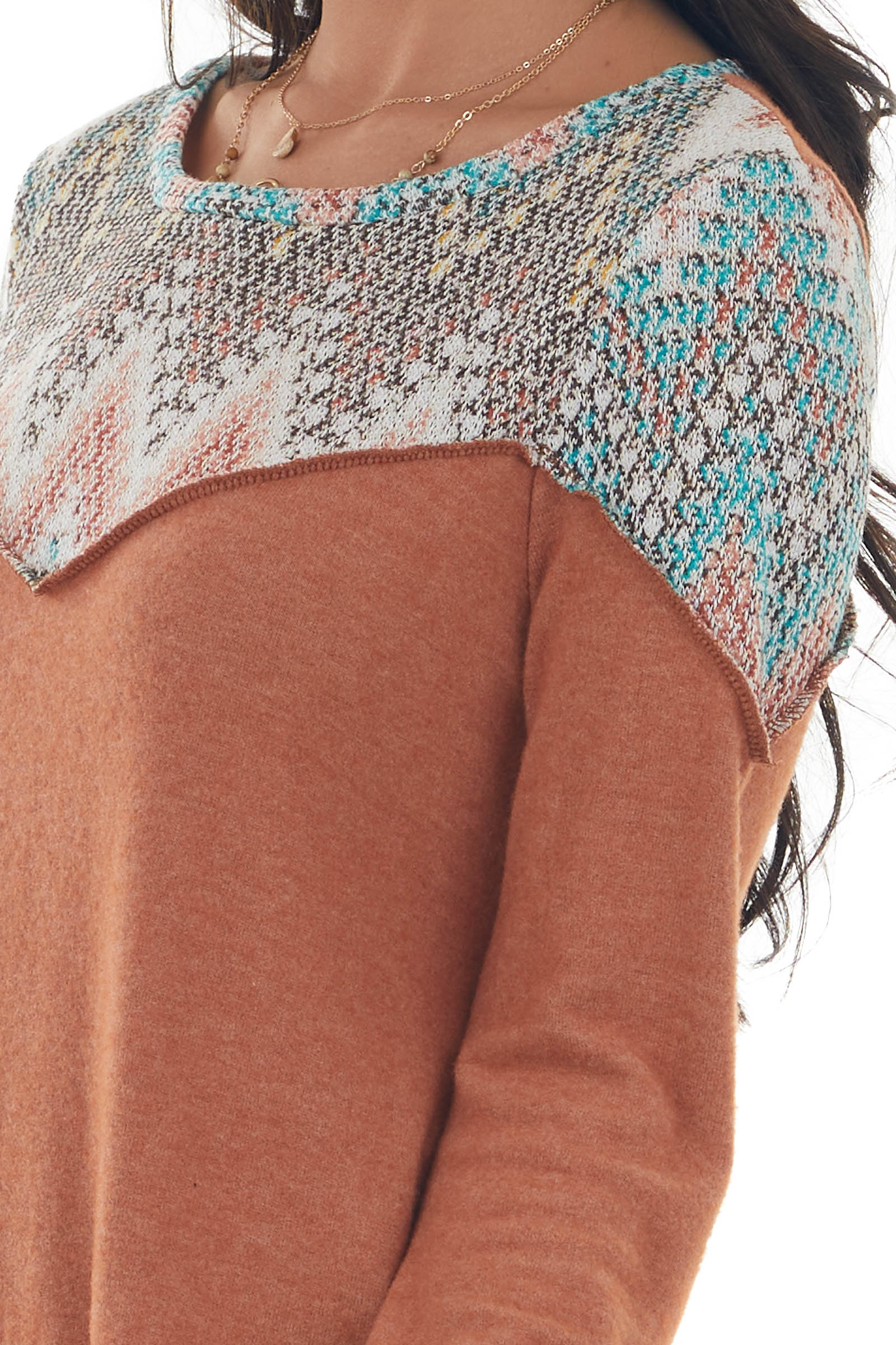 Sandstone Brushed Knit Top with Printed Yoke