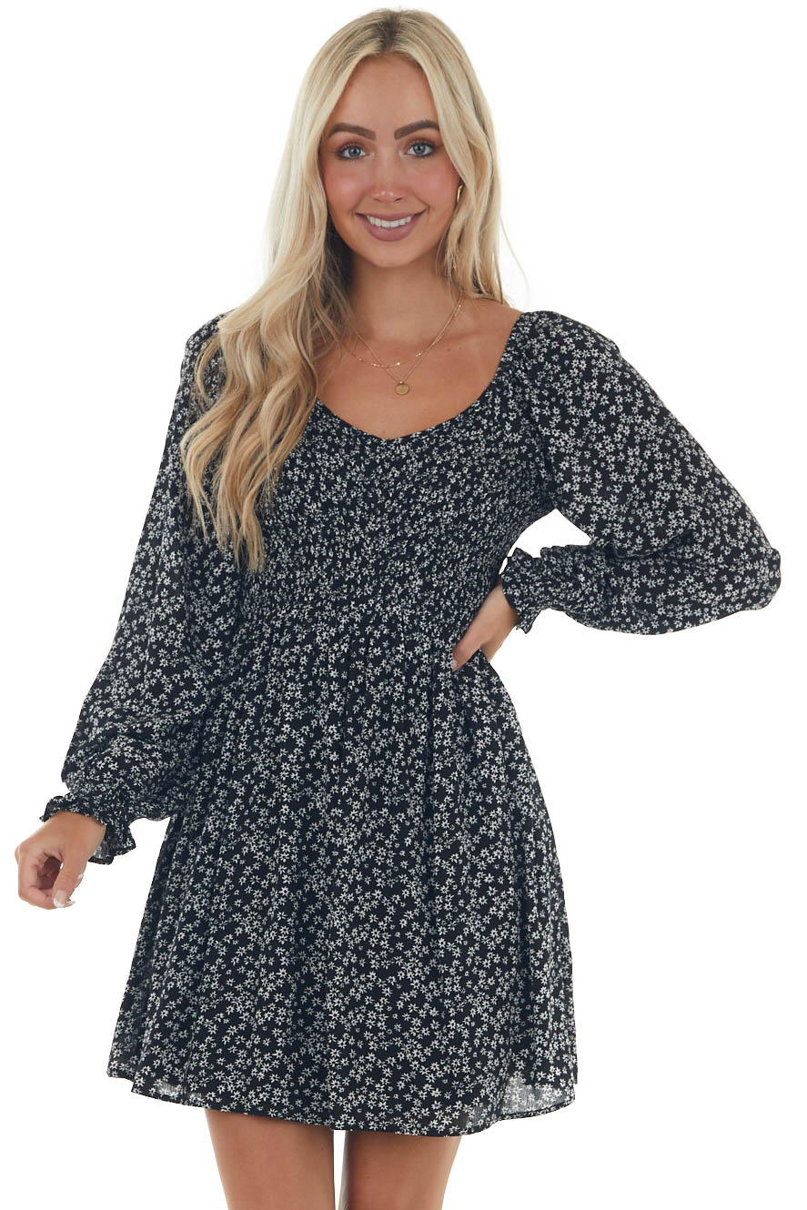 Black Ditsy Floral Dress with Bubble Sleeves