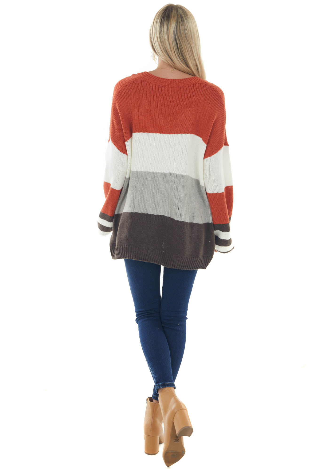 Off White Colorblock Bubble Sleeve Sweater