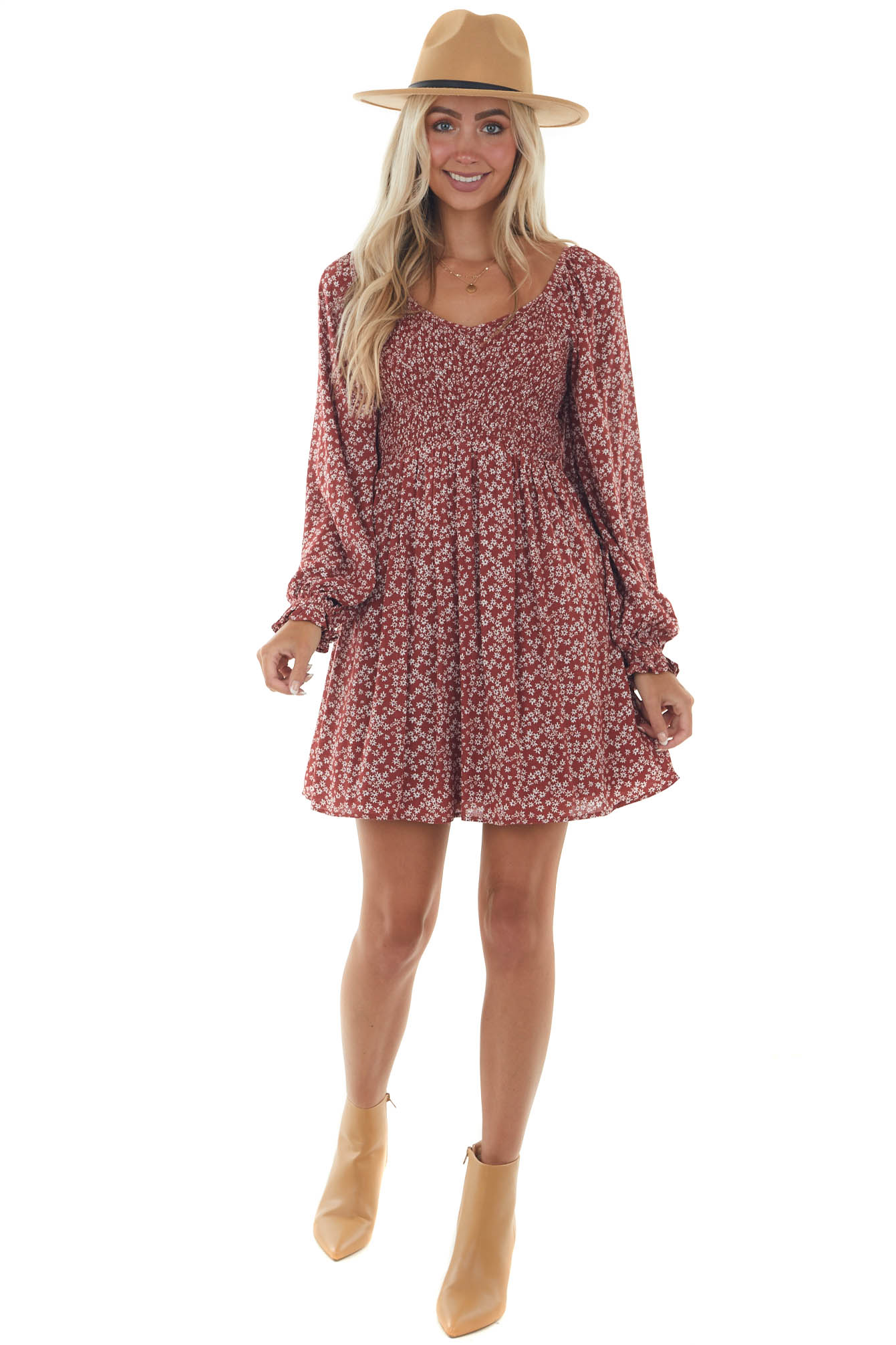 Ruby Ditsy Floral Dress with Bubble Sleeves