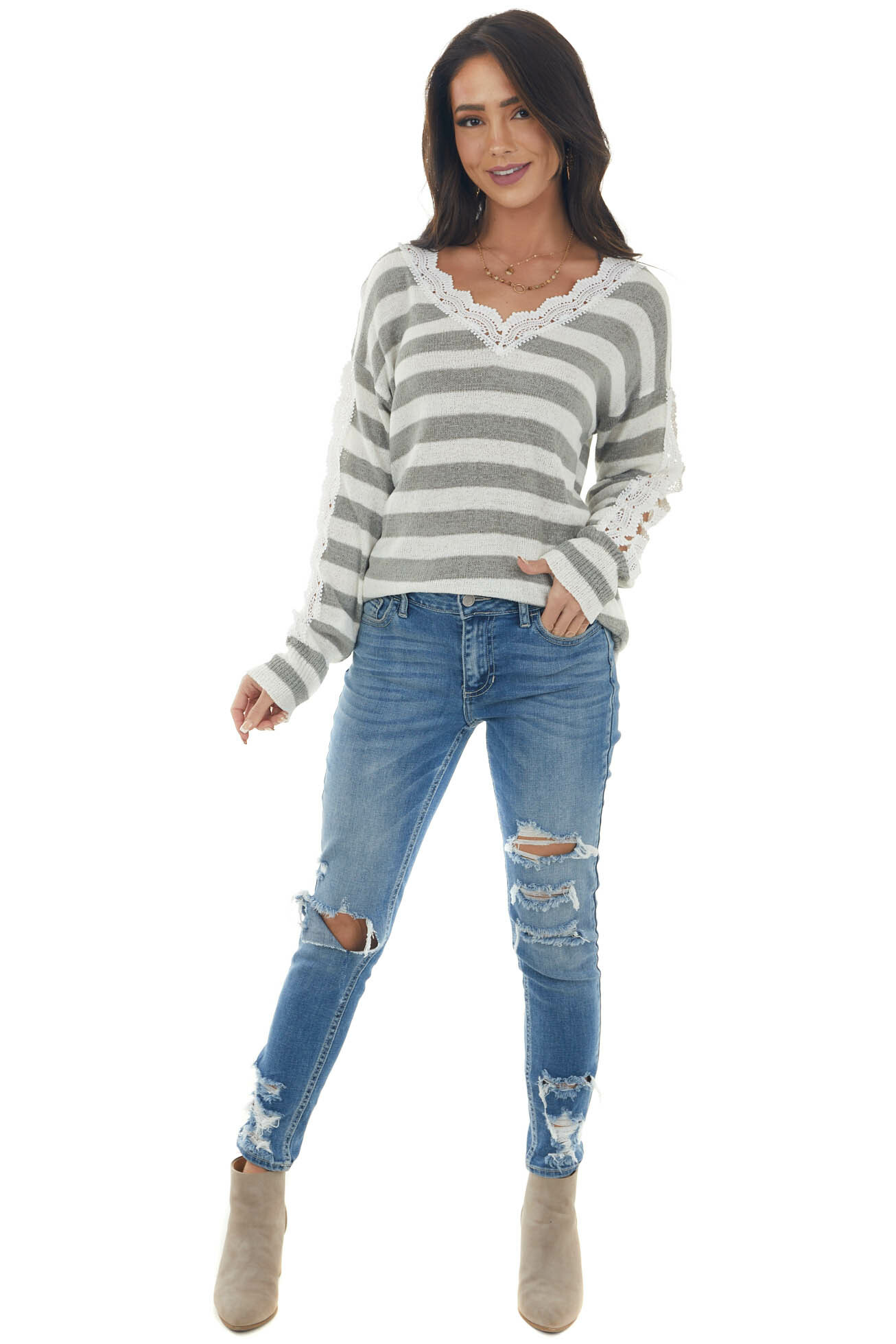 Ash Grey Striped Crochet Lace Cut Out Sweater