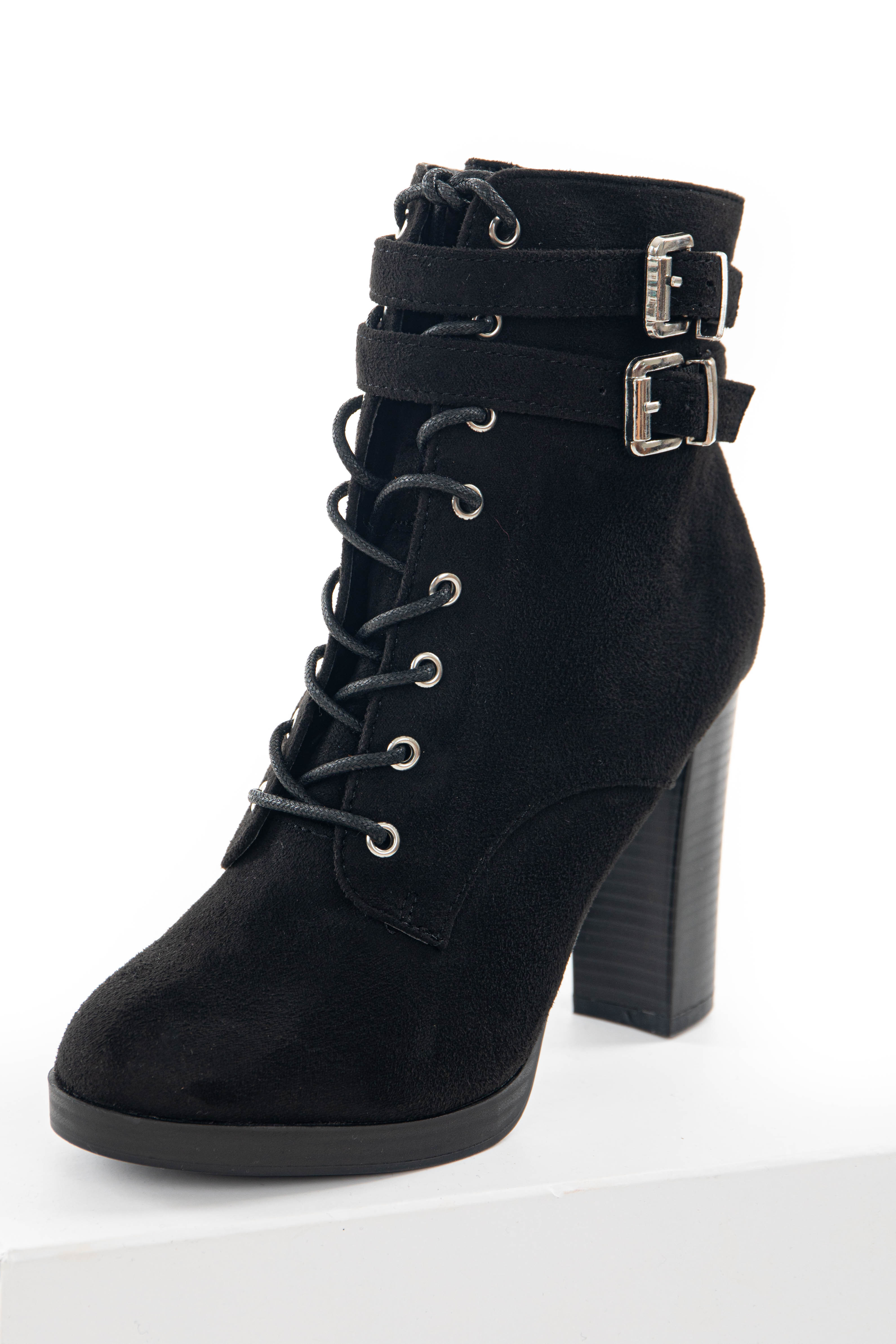 Black Faux Suede Lace Up High Heel Booties