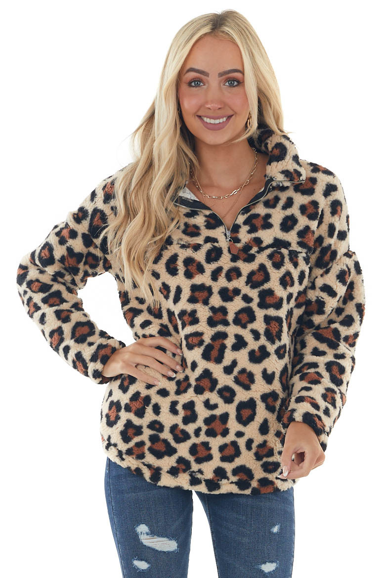 Taupe and Brown Leopard Soft Sherpa Jacket