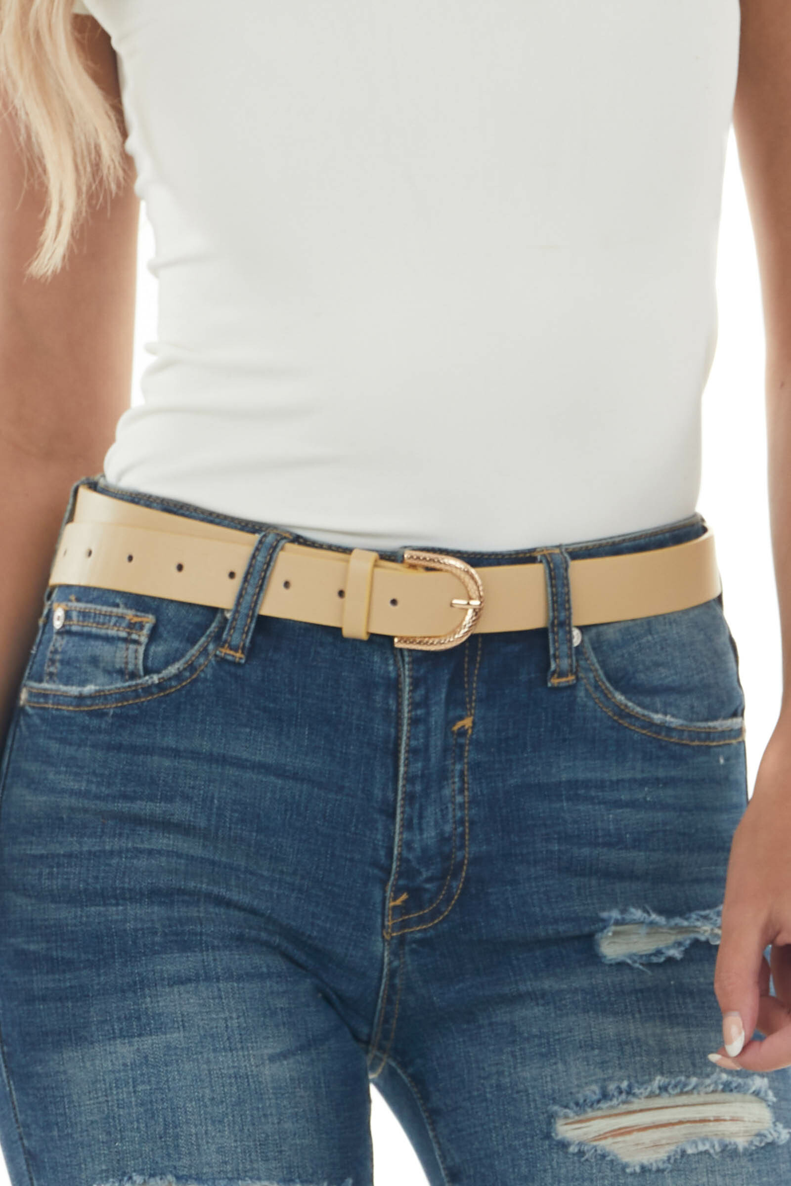 Sand Pleather Belt with Gold Snakeskin Buckle