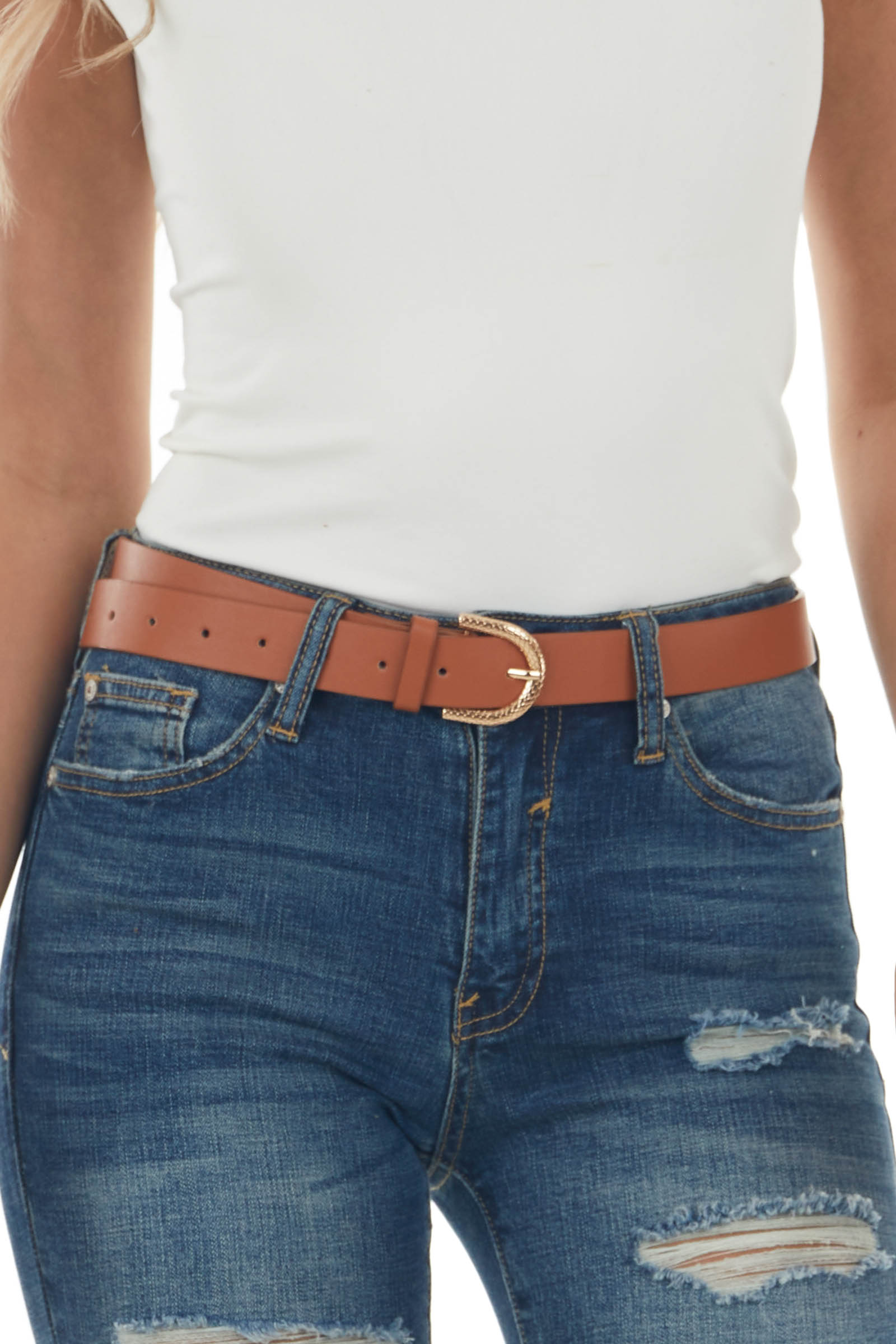 Spice Pleather Belt with Gold Snakeskin Buckle