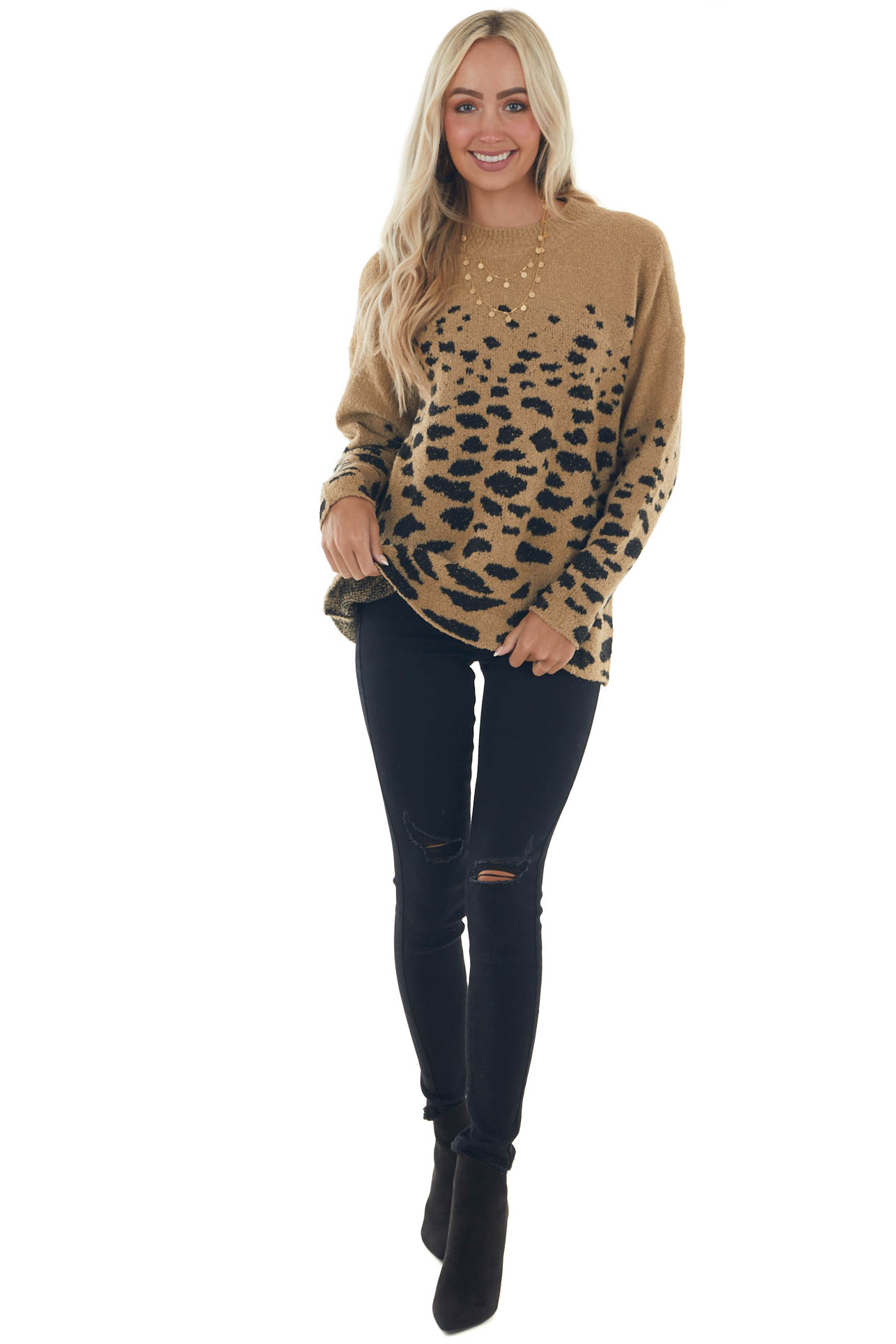 Camel and Black Leopard Fuzzy Sweater
