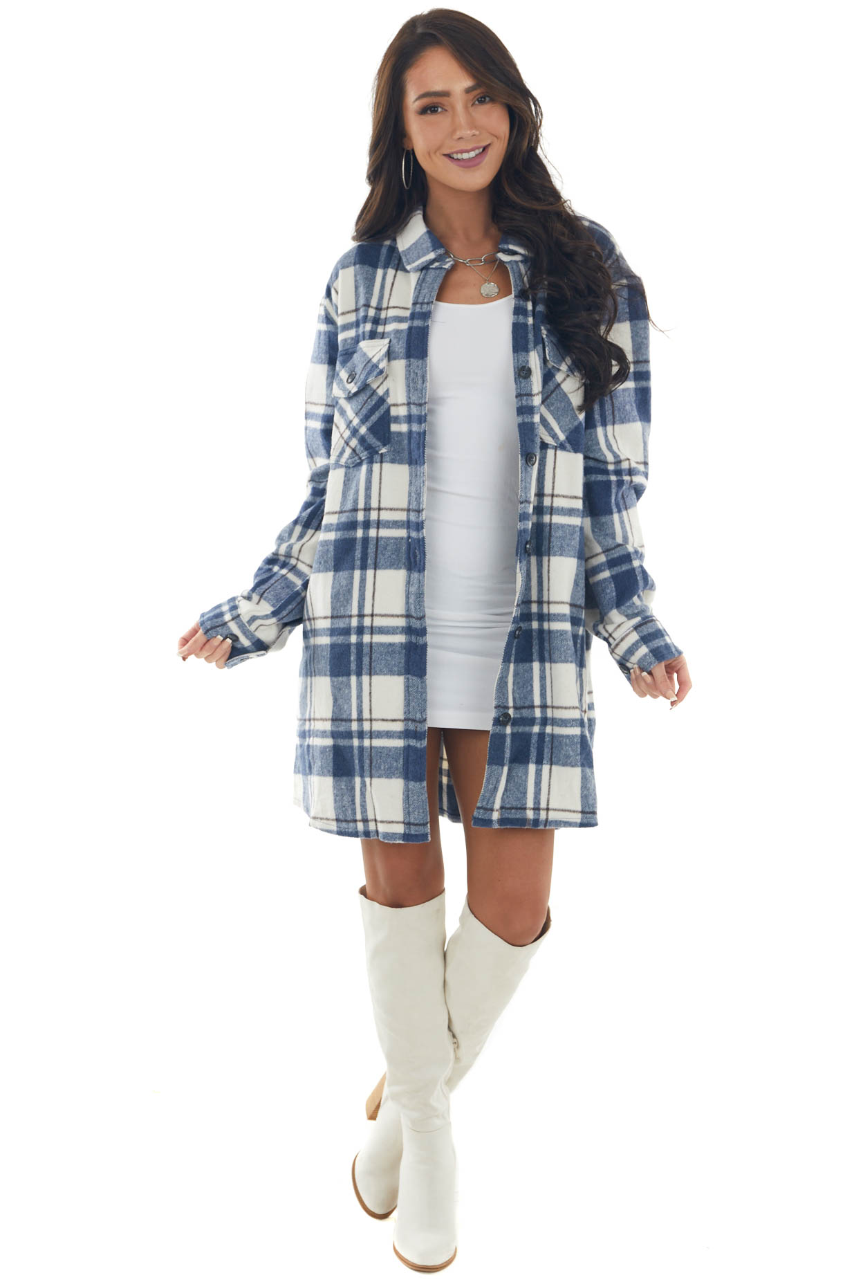 Faded Navy Plaid Button Up Shirt Jacket