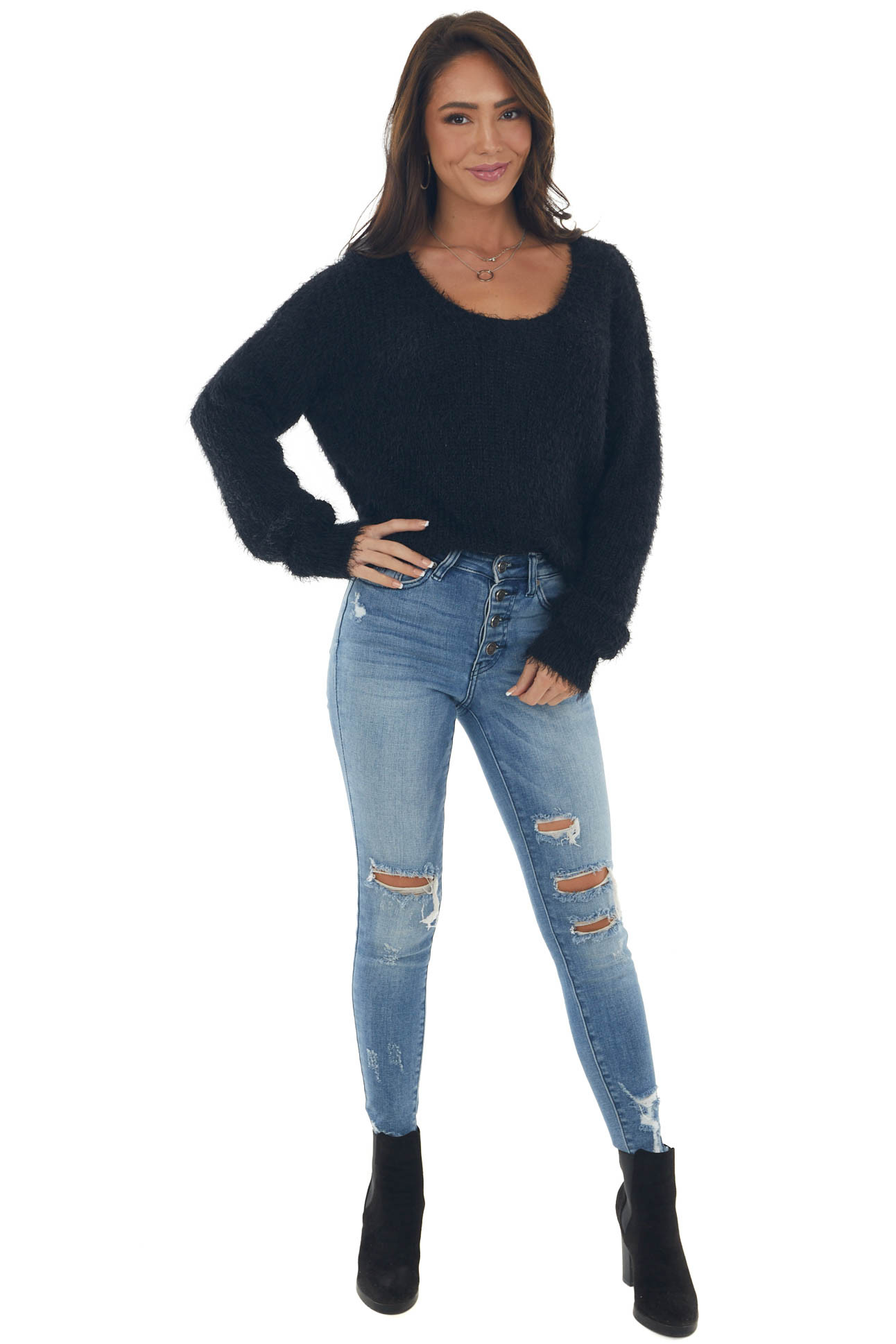 Black Fuzzy Soft Sweater with Silver Threading