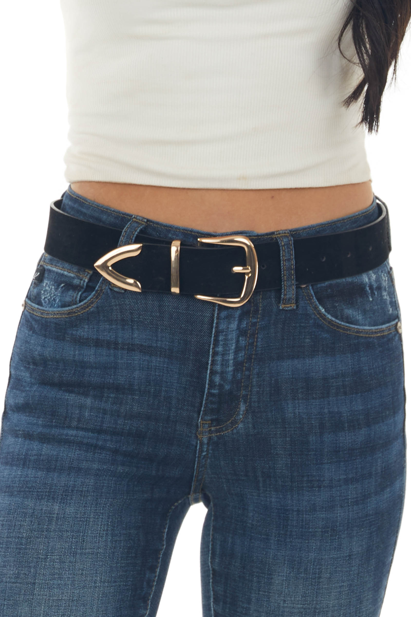 Black Faux Suede Belt with Gold Square Buckle