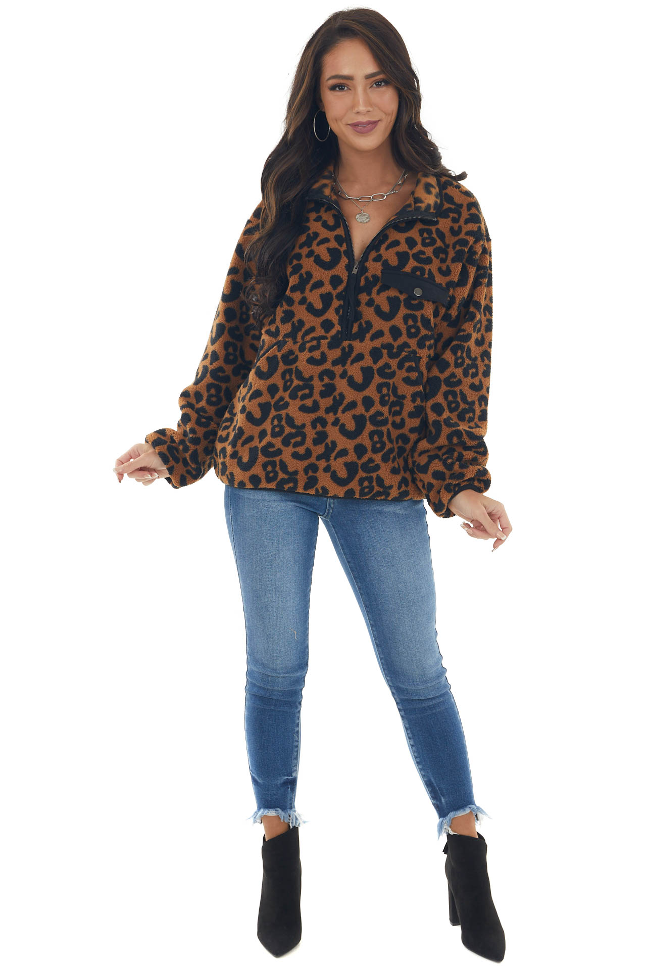 Sepia and Black Leopard Print Pullover Jacket
