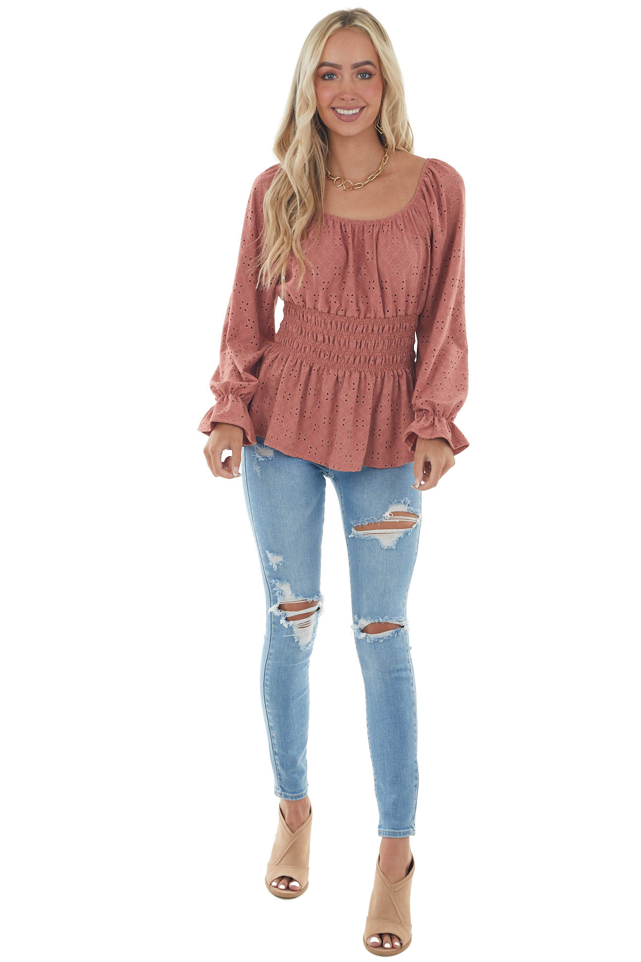 Ginger Square Neck Eyelet Lace Long Sleeve Top